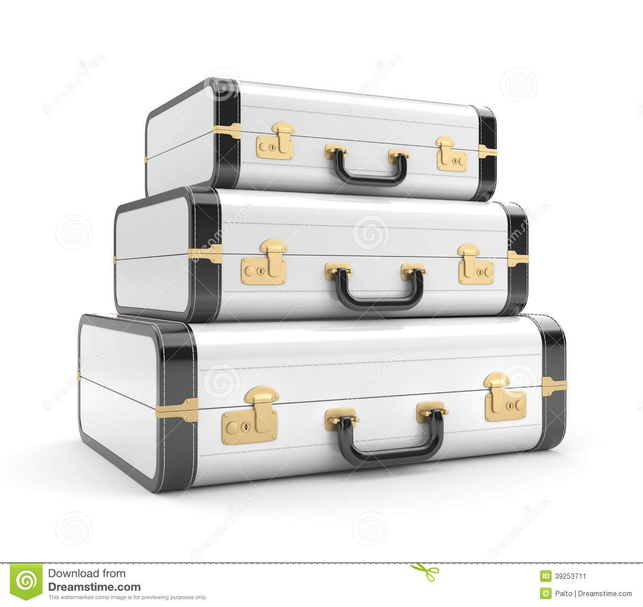 Three White Vintage Suitcase Stock Illustration - Image: 39253711