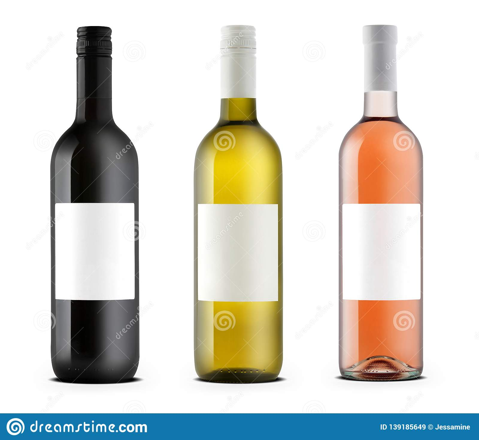 Wine bottles rose, white and black
