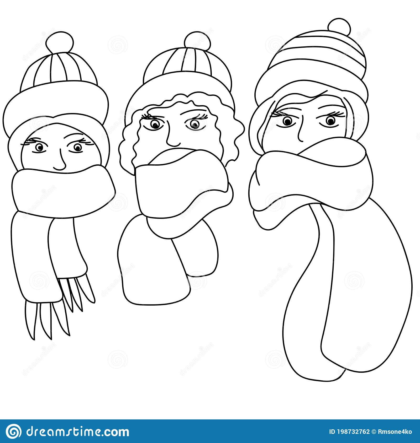 Three Winter Girls Coloring Page Head In A Warm Hat And A Cozy Scarf Stock Vector Illustration Of Knitted Pages 198732762