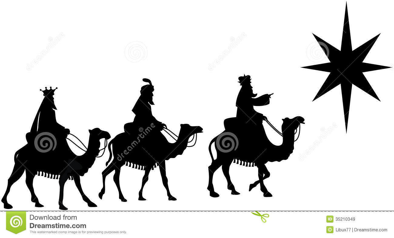 Illustration featuring silhouette of three Kings travelling on camel ...