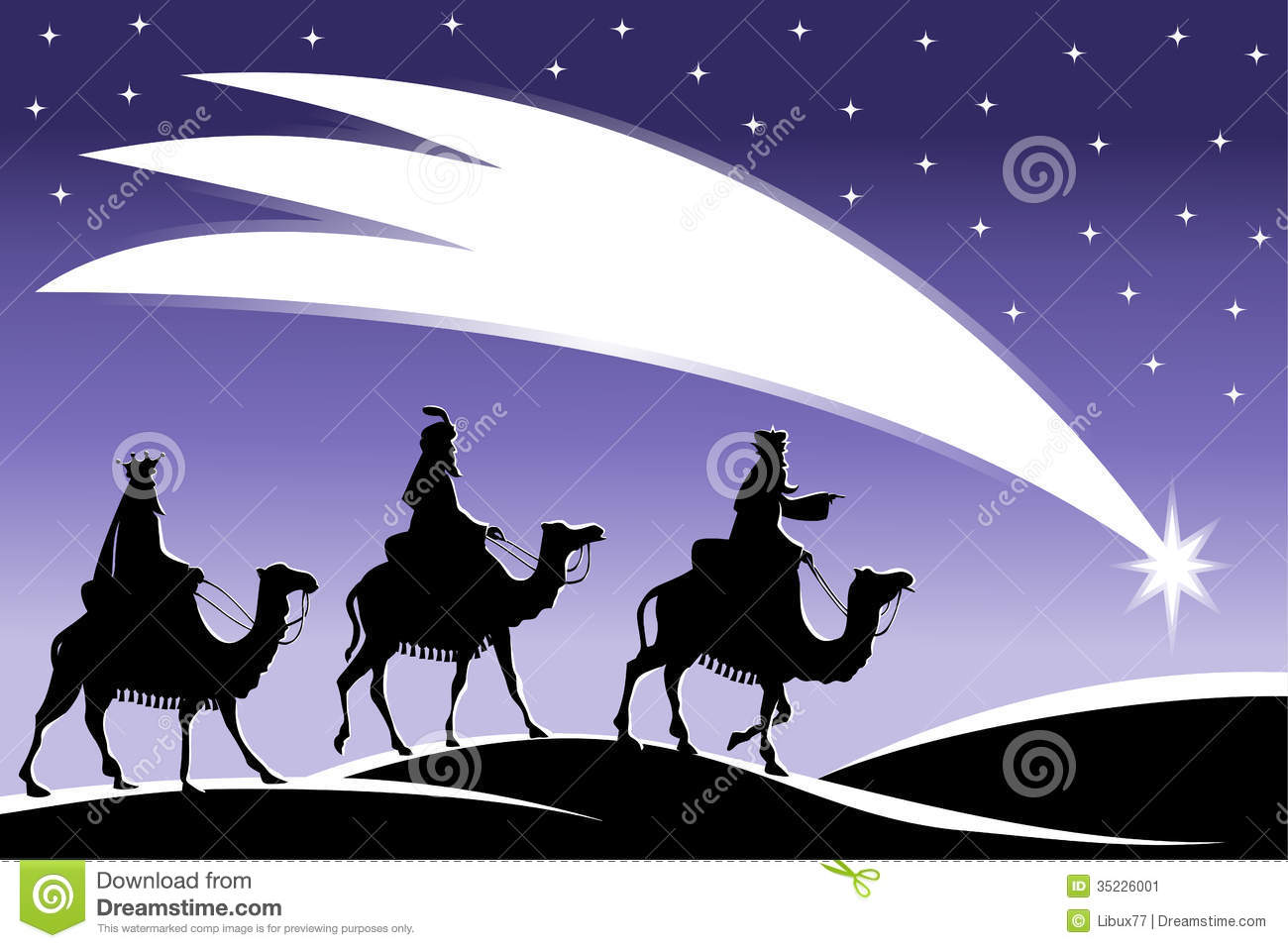 Three Wise Men Star Three wise men following the