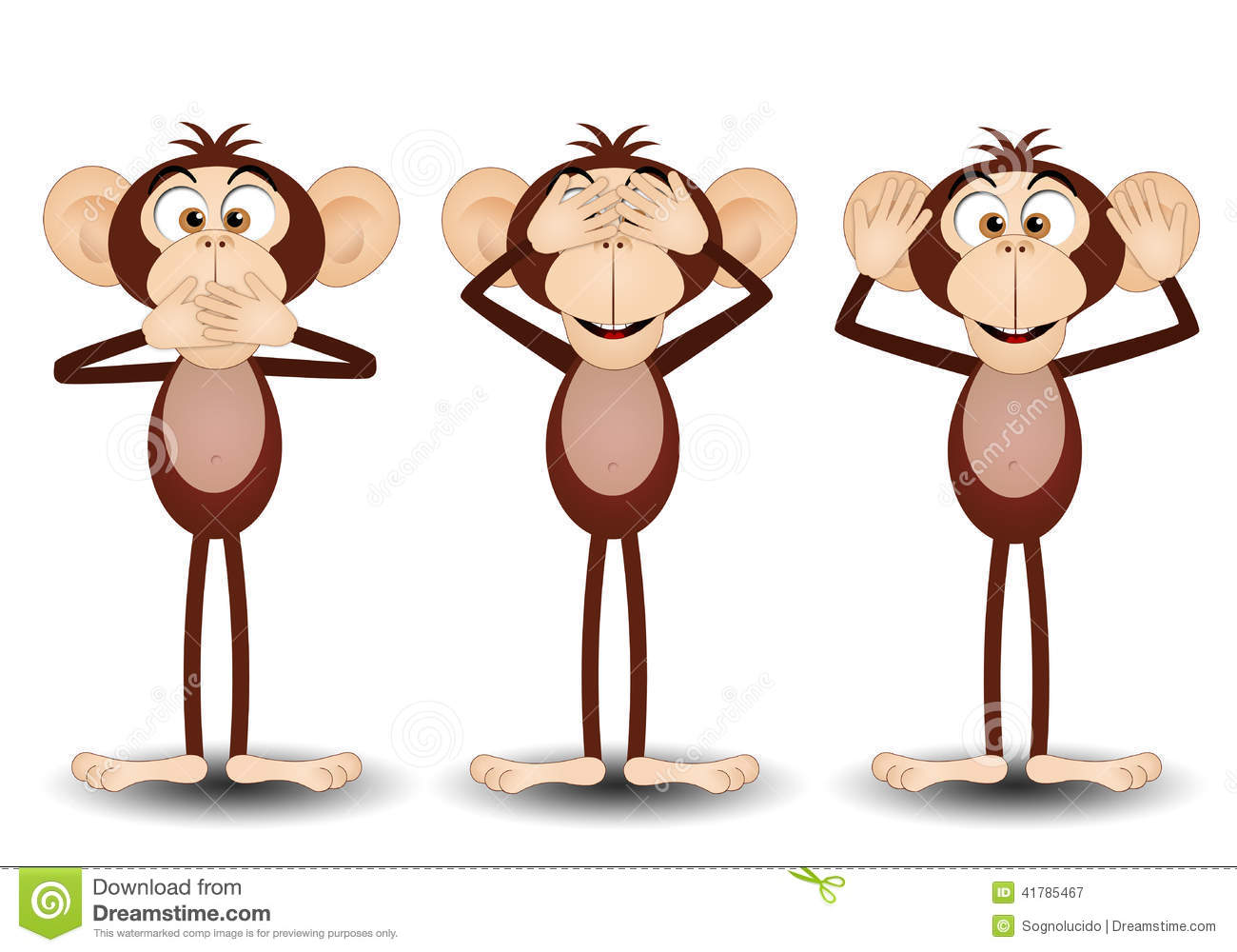 The Three Wise Monkeys Stock Illustration - Image: 41785467