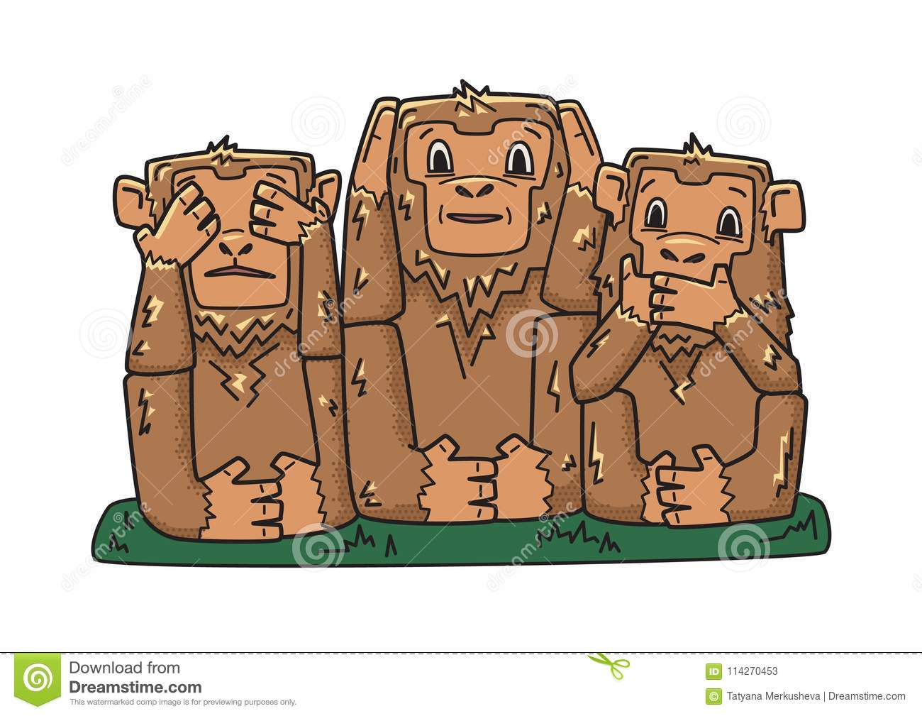 Three wise monkeys. mystic apes. See no evil, hear no evil, speak no evil. Vector character illustration, isolated on