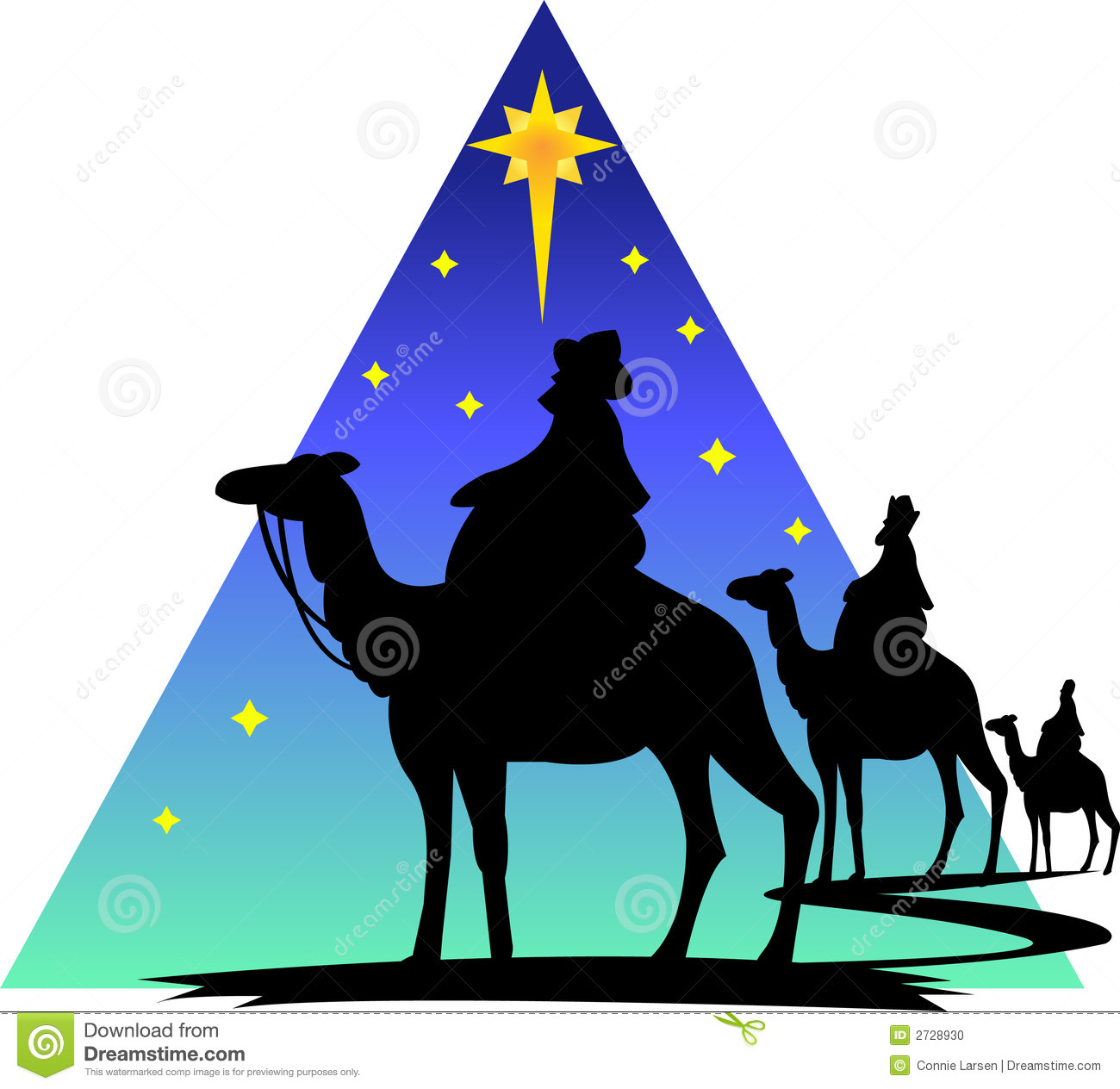 Illustration of the three wisemen following the star of Bethlehem to ...