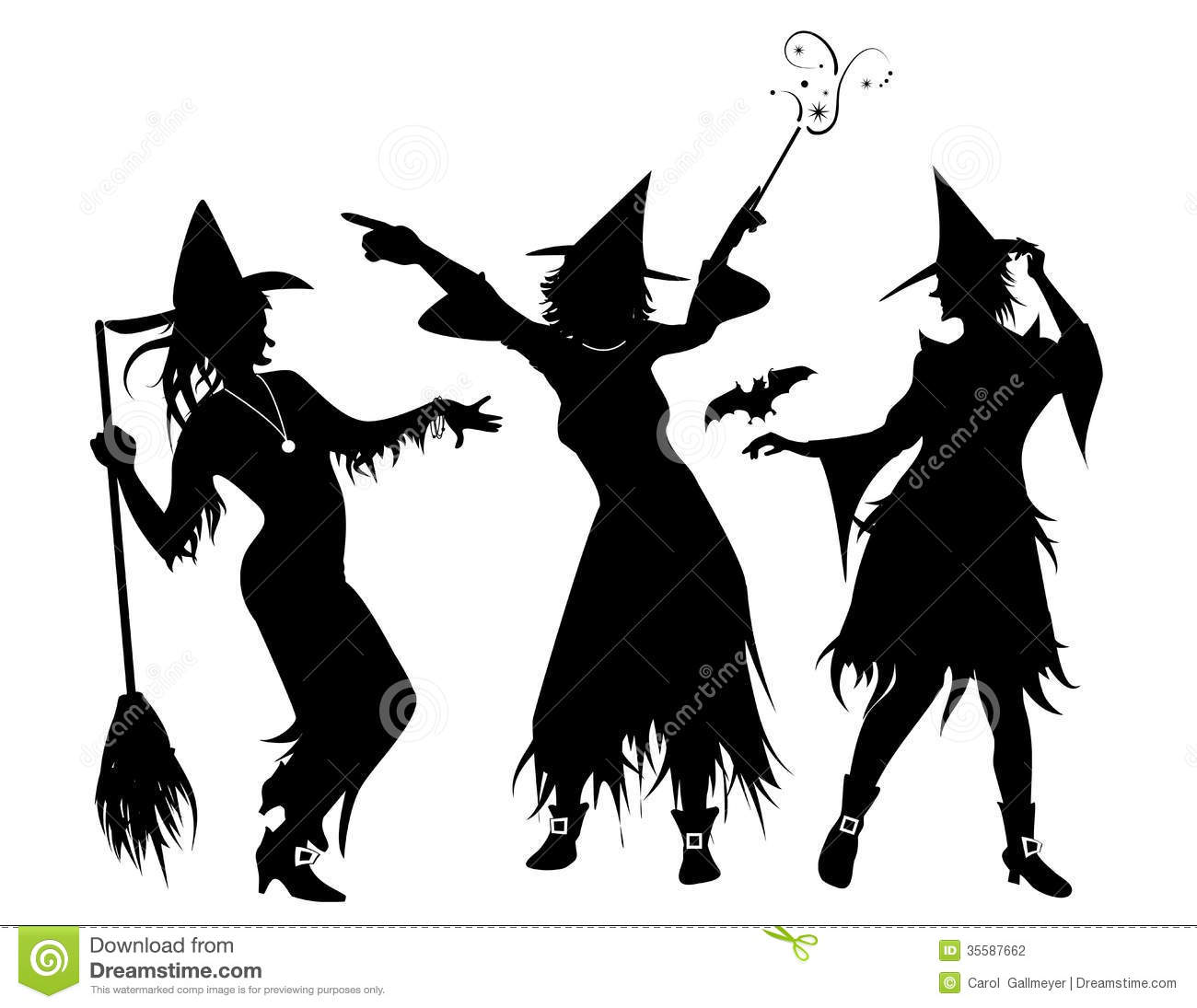 Three Witch Silhouettes Stock Photography - Image: 35587662