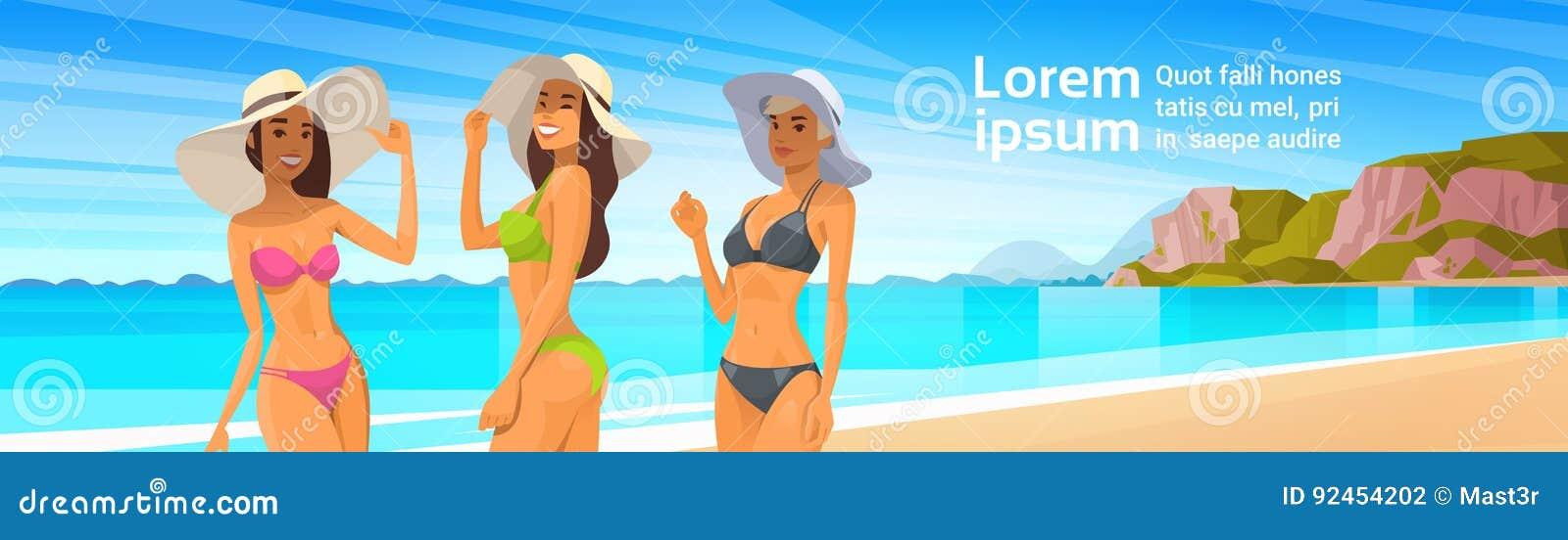 bb21d7db2212f Royalty-Free Vector. Three Woman In Bikini On Beach, Girls Wear Hat On  Summer Sea Vacation