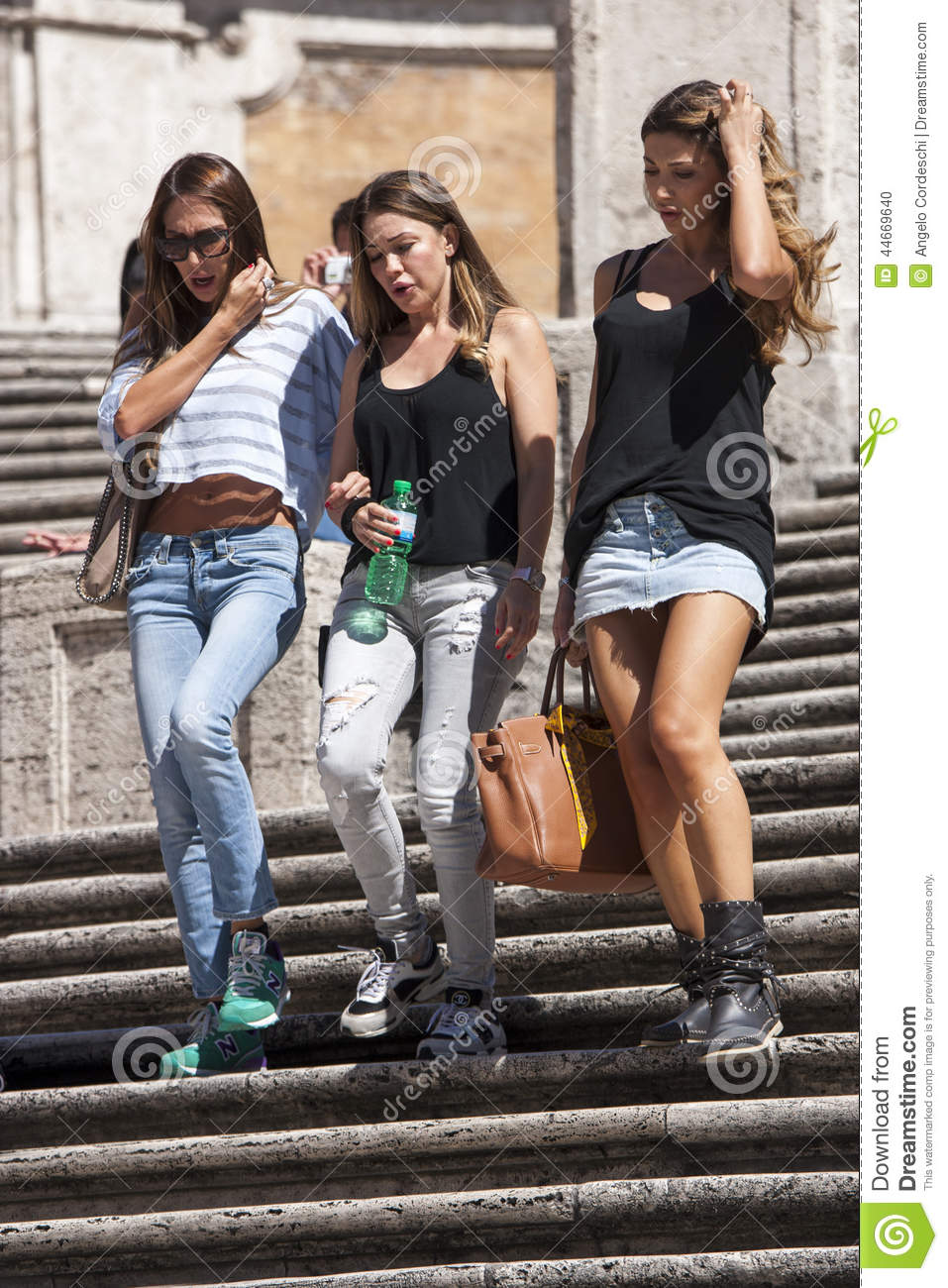 Three beautiful Italian women down the steps of Trinità dei Monti at