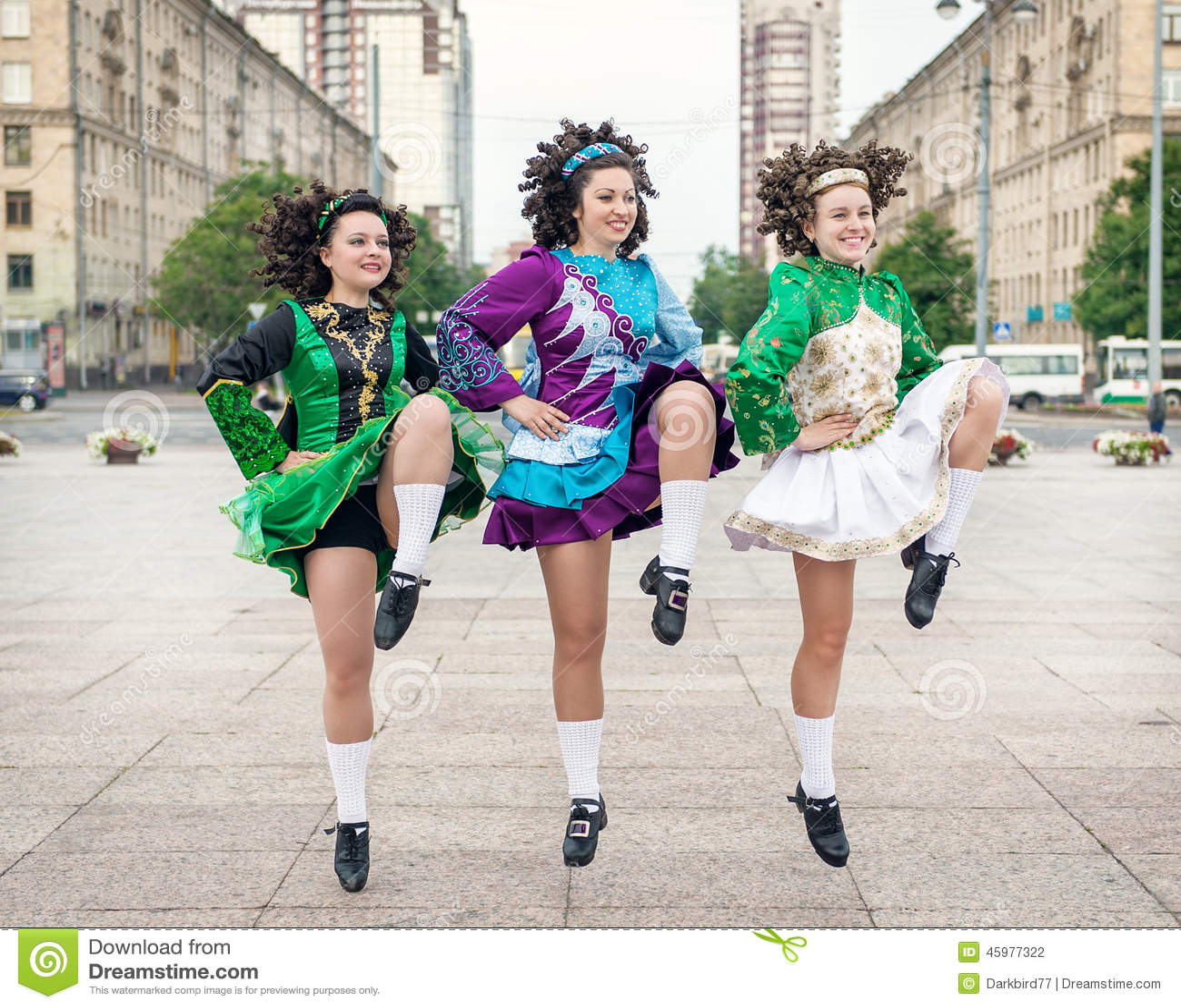 Three Women In Irish Dance Dresses Dancing Stock Photo - Image of ... c5c3261bc1
