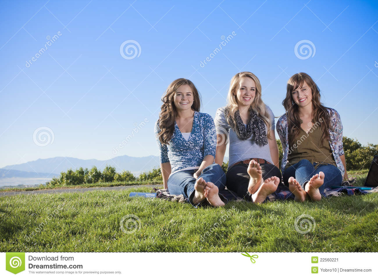 Three women relaxing in the outdoors