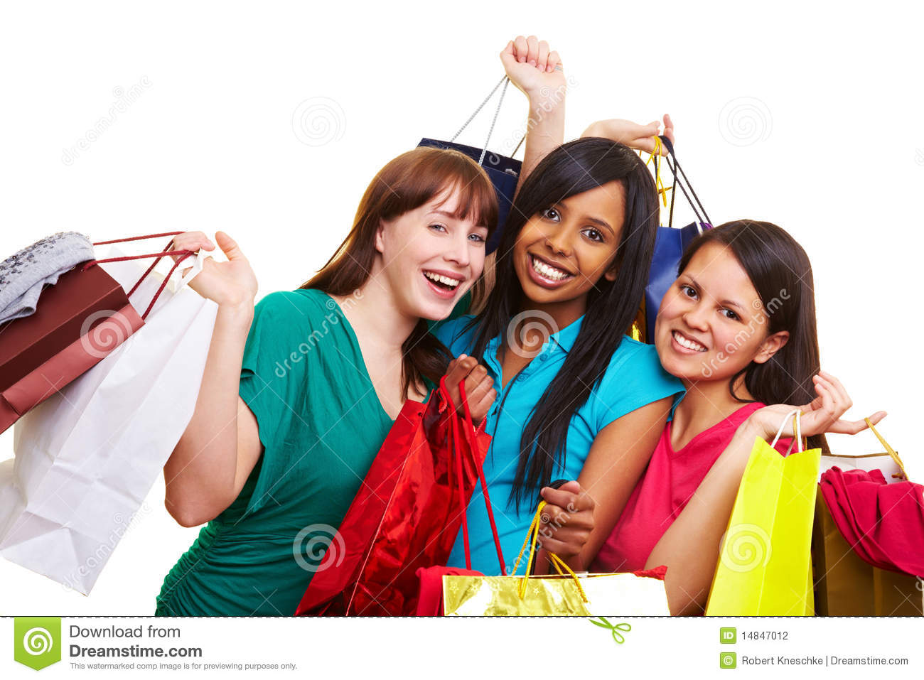 Three women with shopping bags stock photo image 14847012 for Ladeblok wit 3 lades
