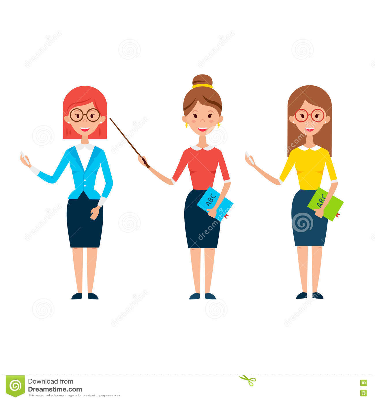 Three Women Teacher Characters Stock Vector - Image: 73813499
