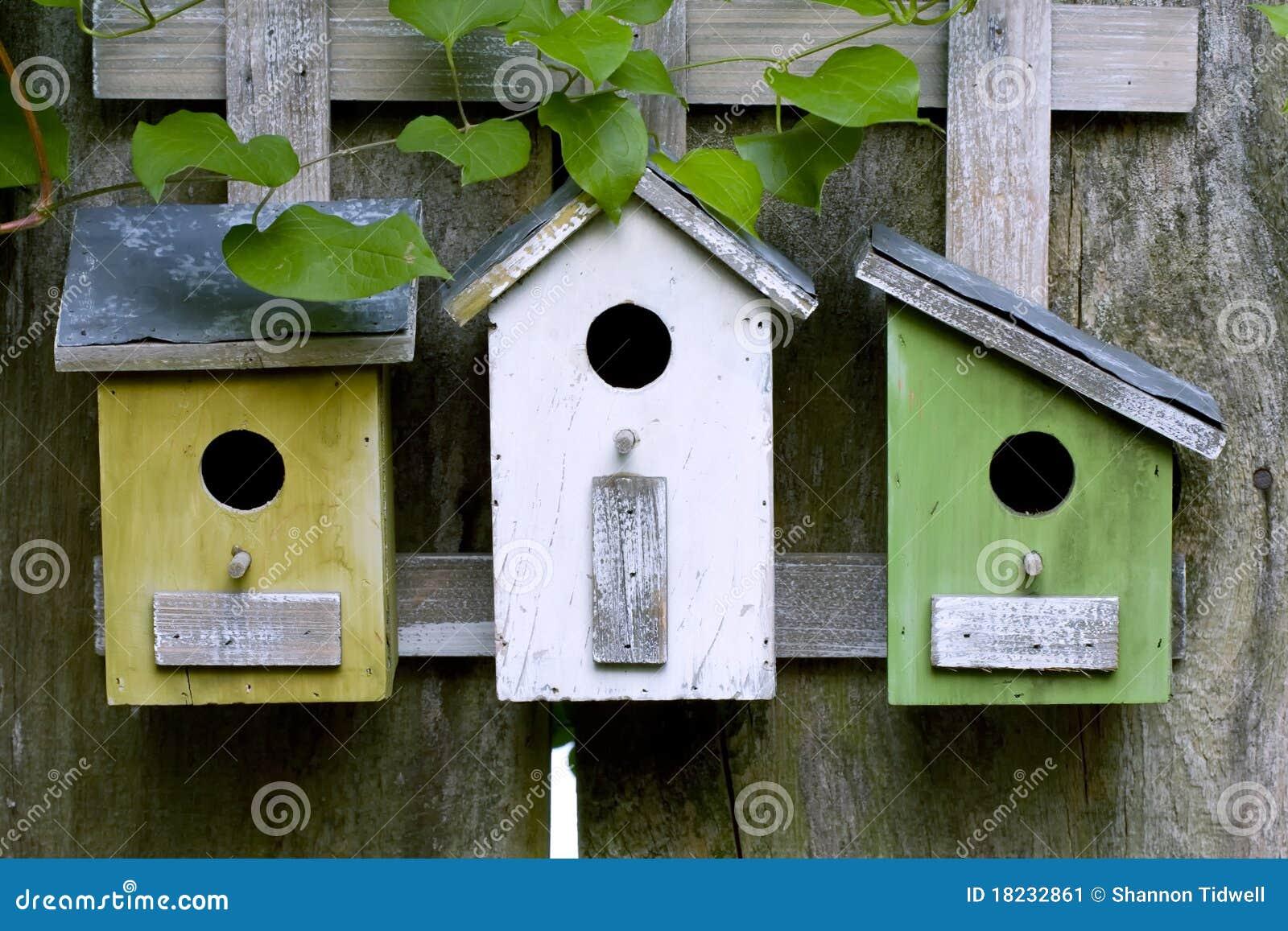 Three Wooden Birdhouses Stock Image Image 18232861