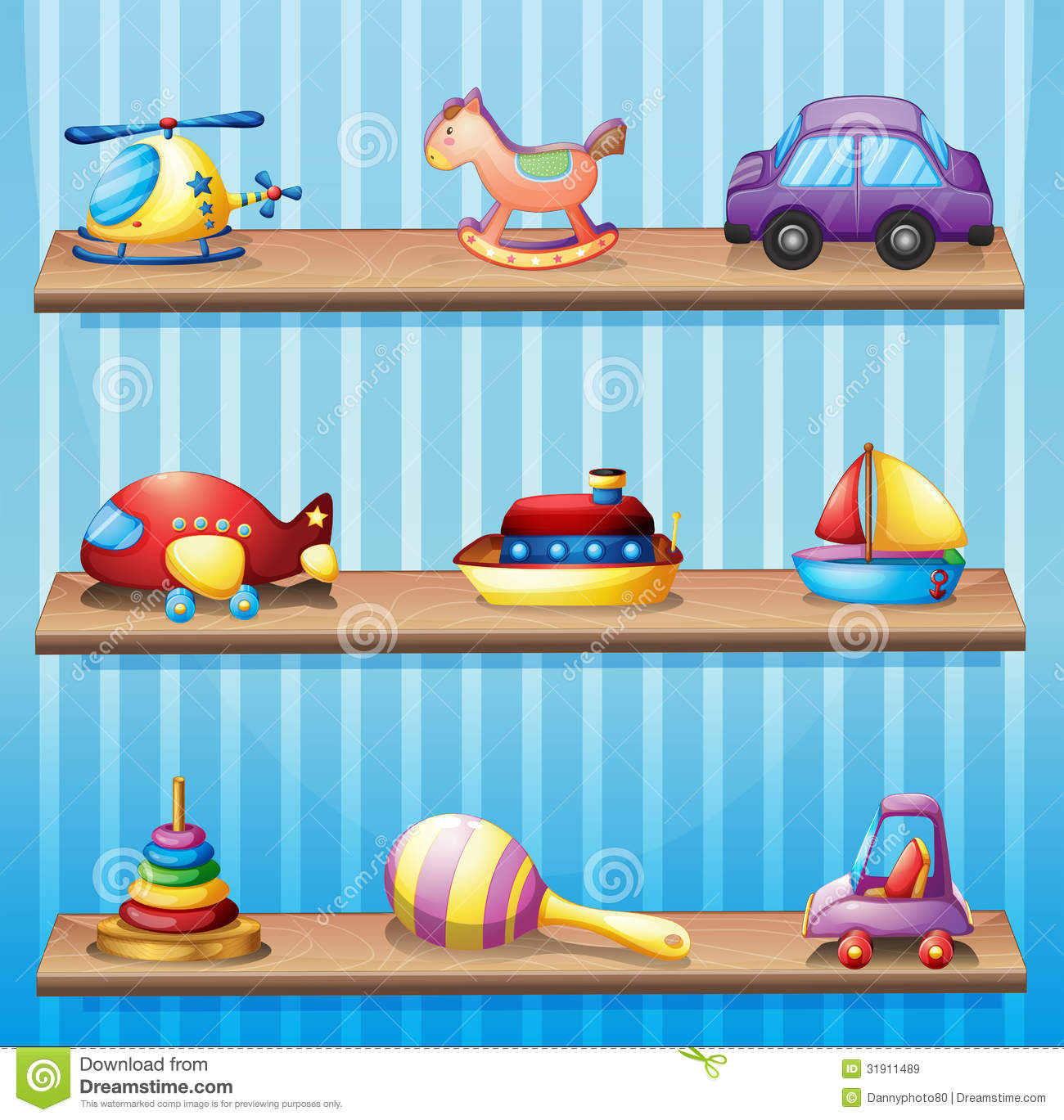 Three Wooden Shelves With Toys Royalty Free Stock Images - Image ...
