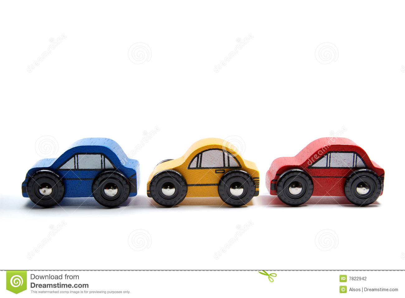 Three simple wooden toy cars in a row, against a white background.