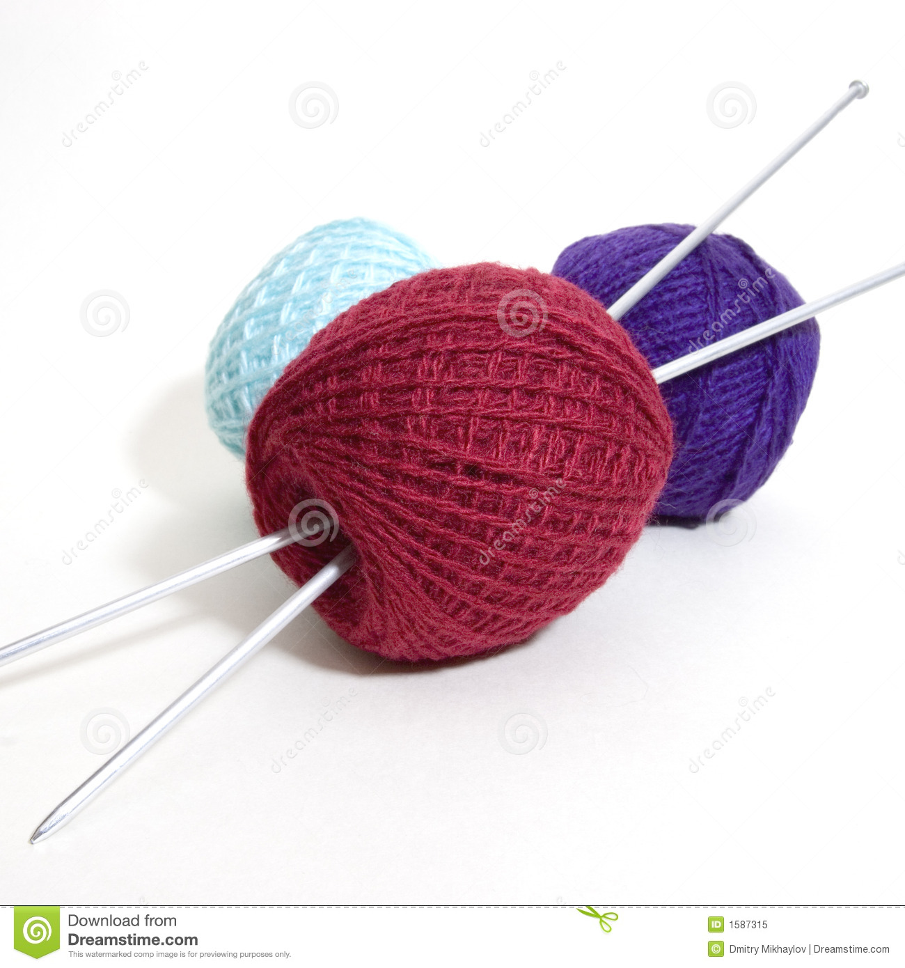 Knitting Patterns Wool And Needles : Three Wool Balls And Knitting Needles Royalty Free Stock ...