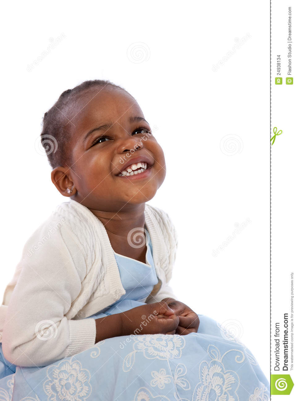 Three Year Old African American Girl Sitting Stock Photo
