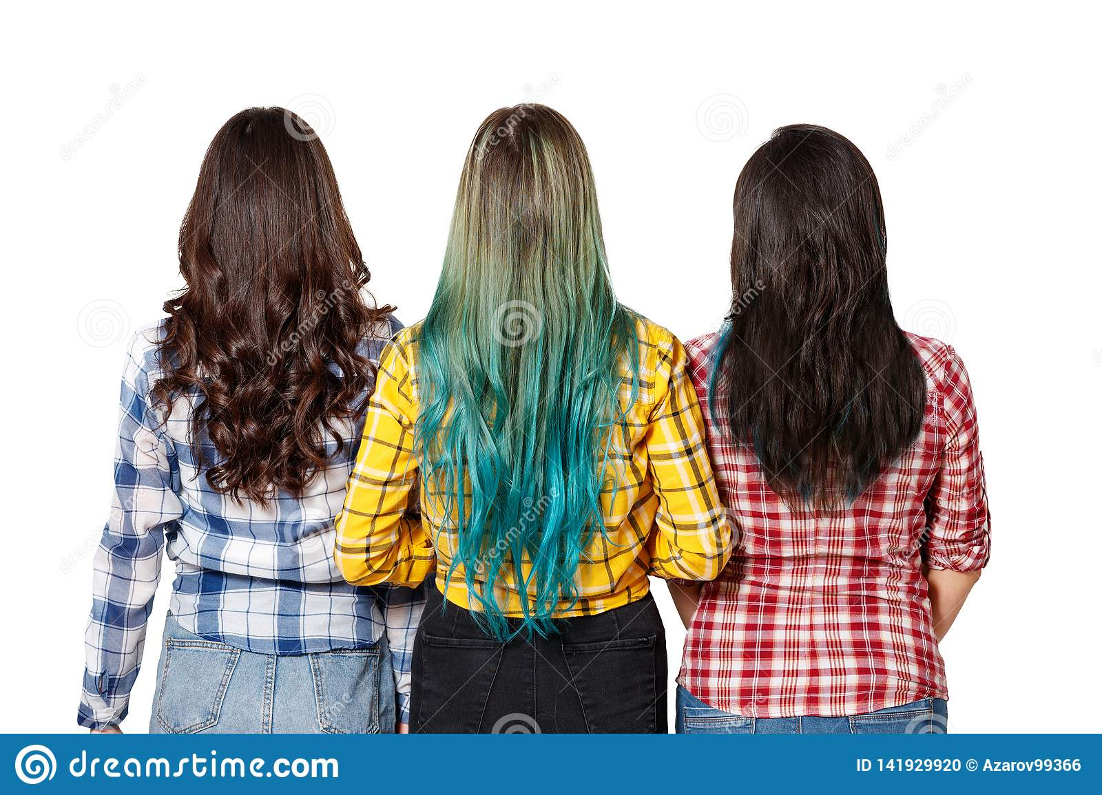 Three young beautiful women girls with beautiful long hair stand next to the view from the back. isolated on white background