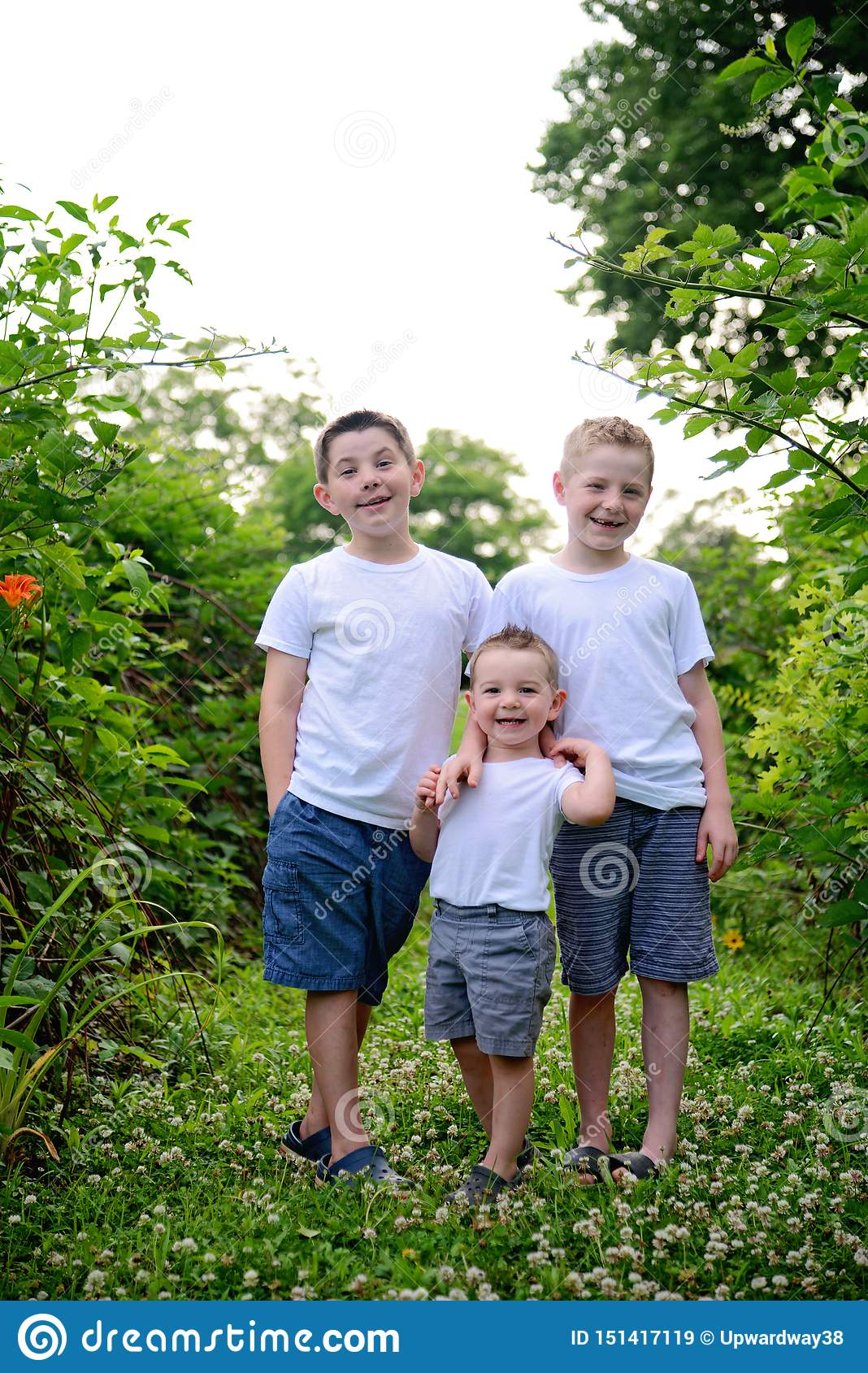 Three young brothers potrait