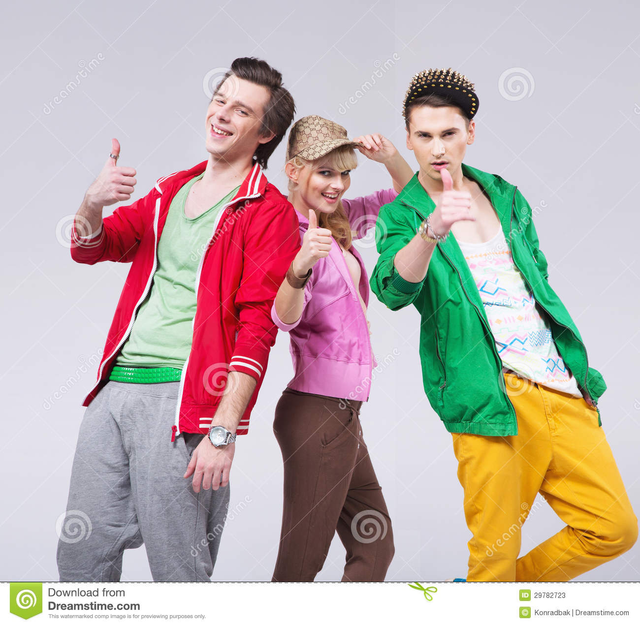 Three Friends In Optimistic Pose Stock Photos - Image: 29782723