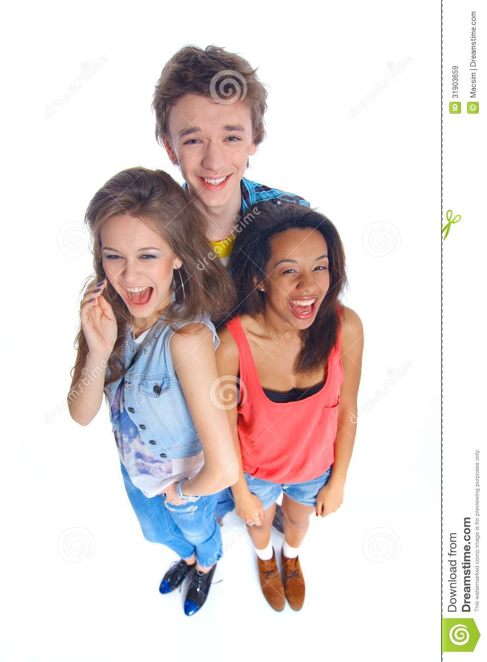 Three pretty teens in action