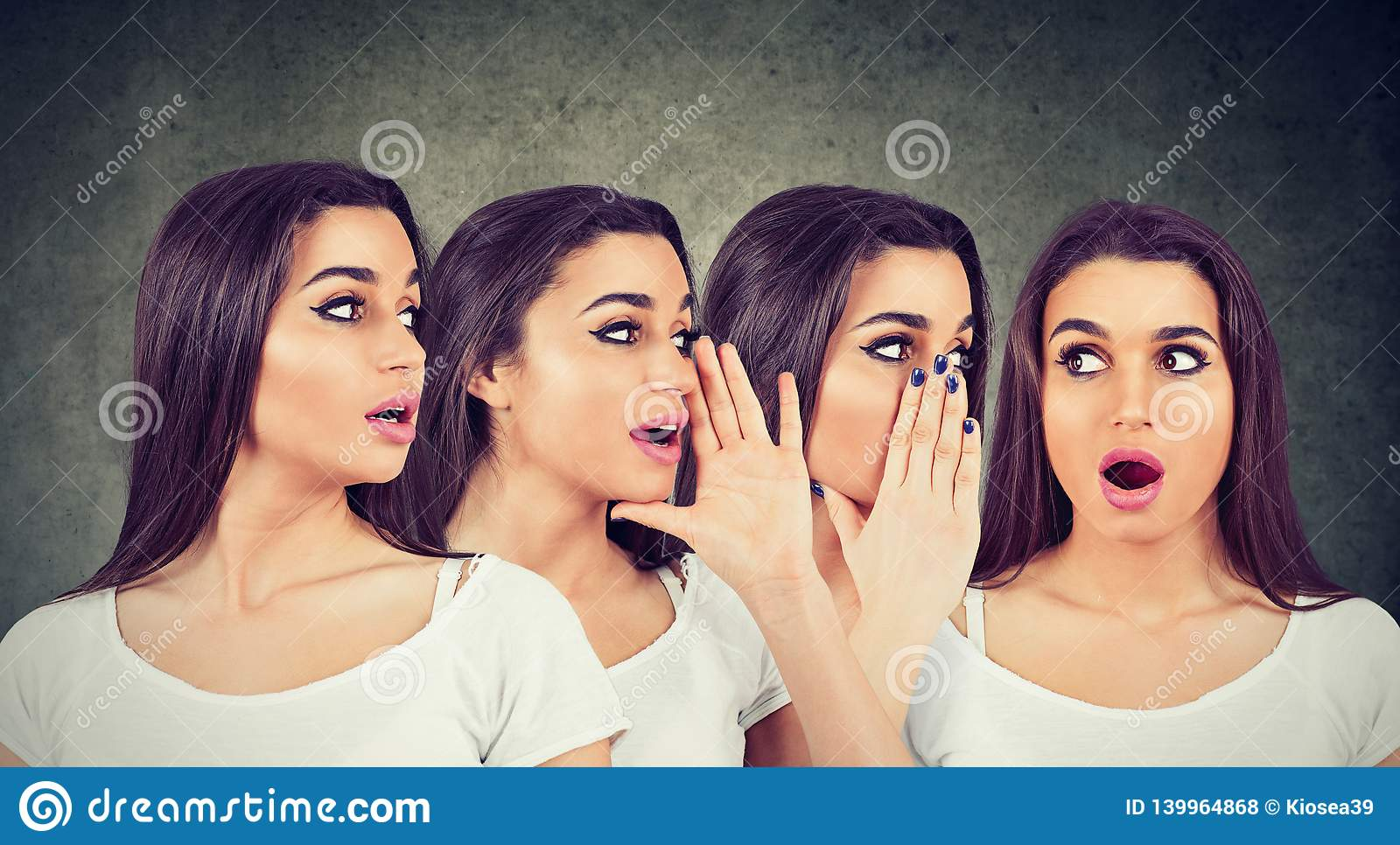 Three young women whispering each other and to a shocked astonished girl in the ear