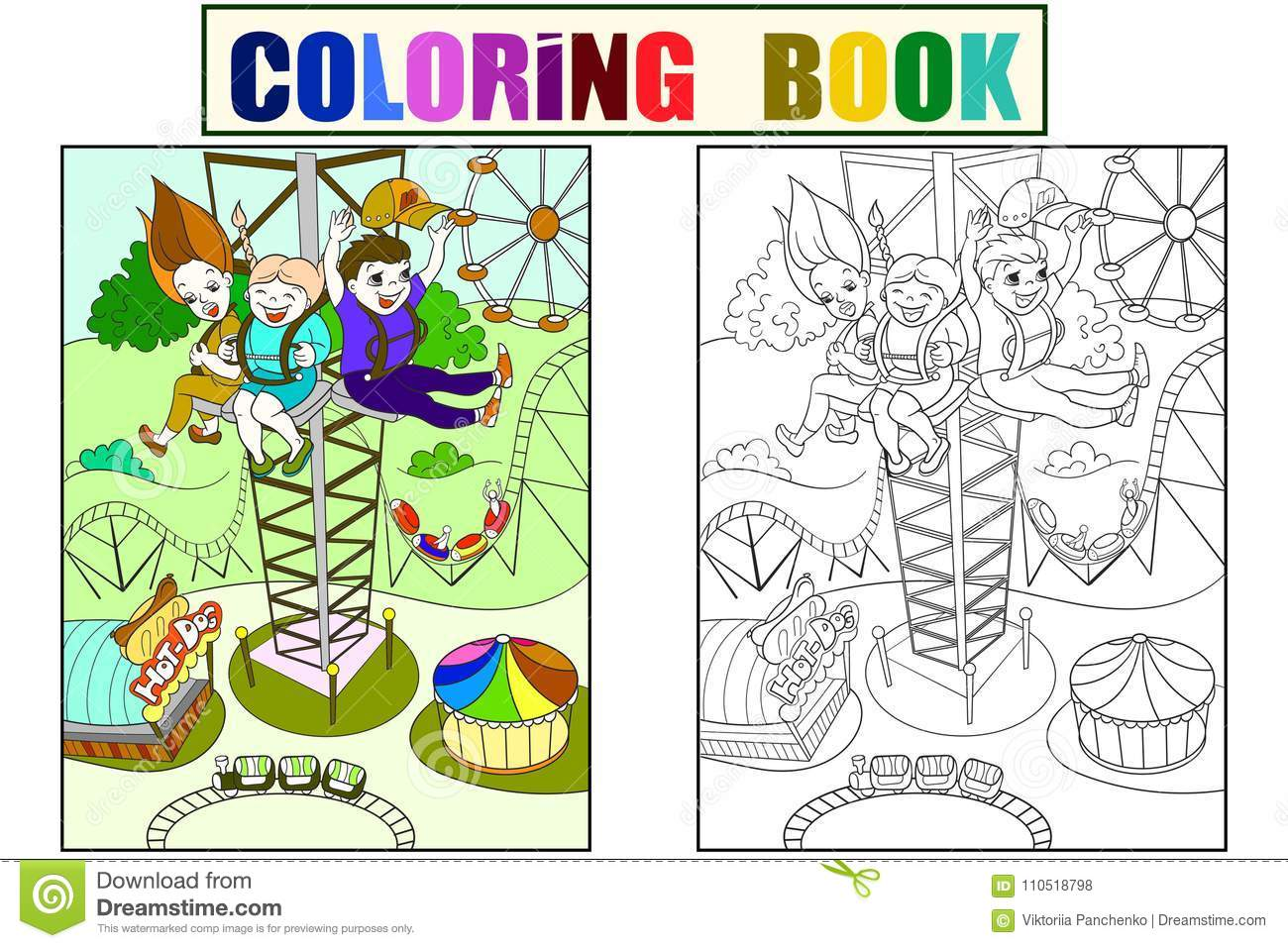 Thrill From A Free Fall From This Tower. Color Book Black Lines On A ...