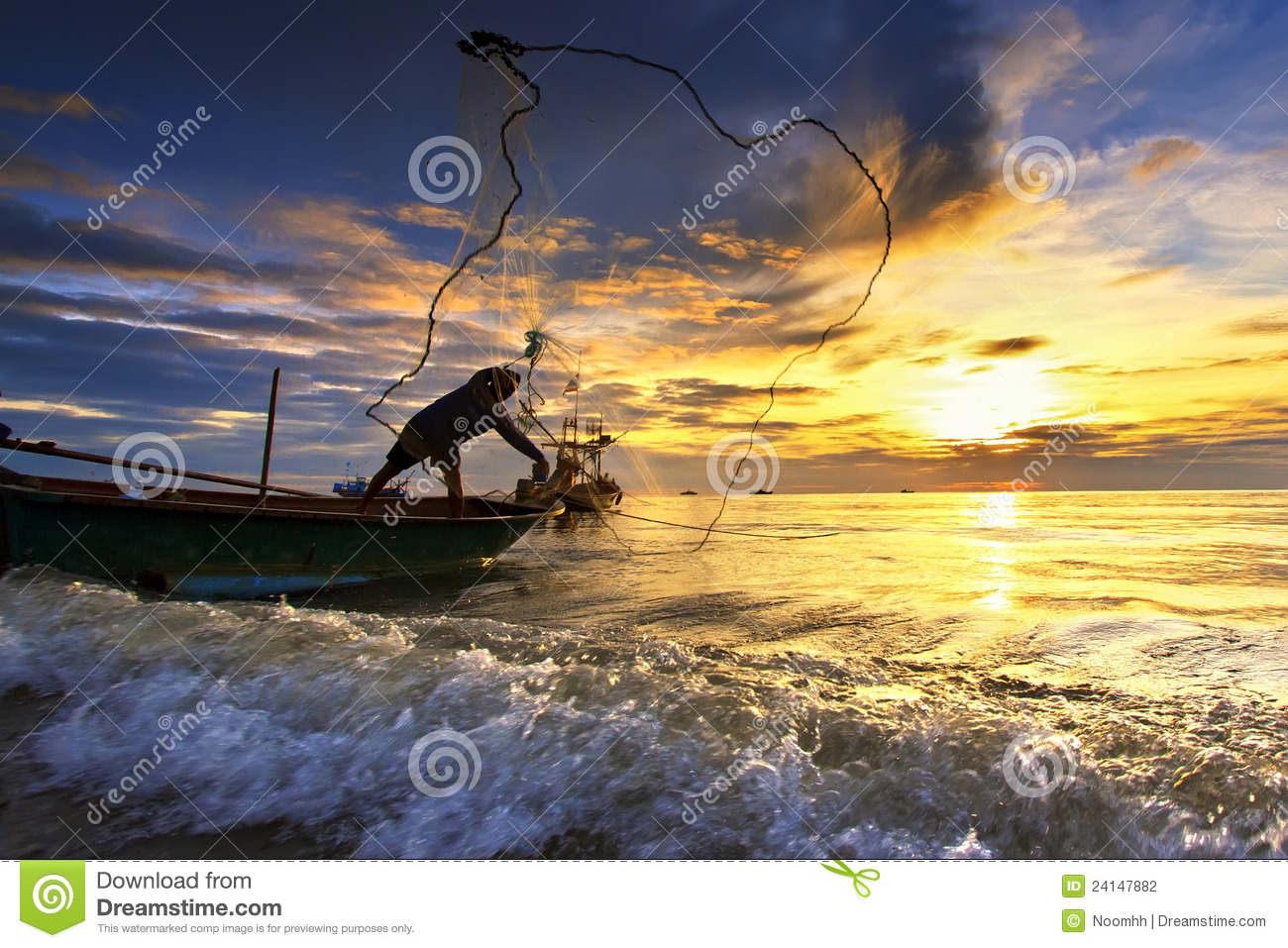 Throwing fishing net during sunset stock photo image for Throw nets for fishing