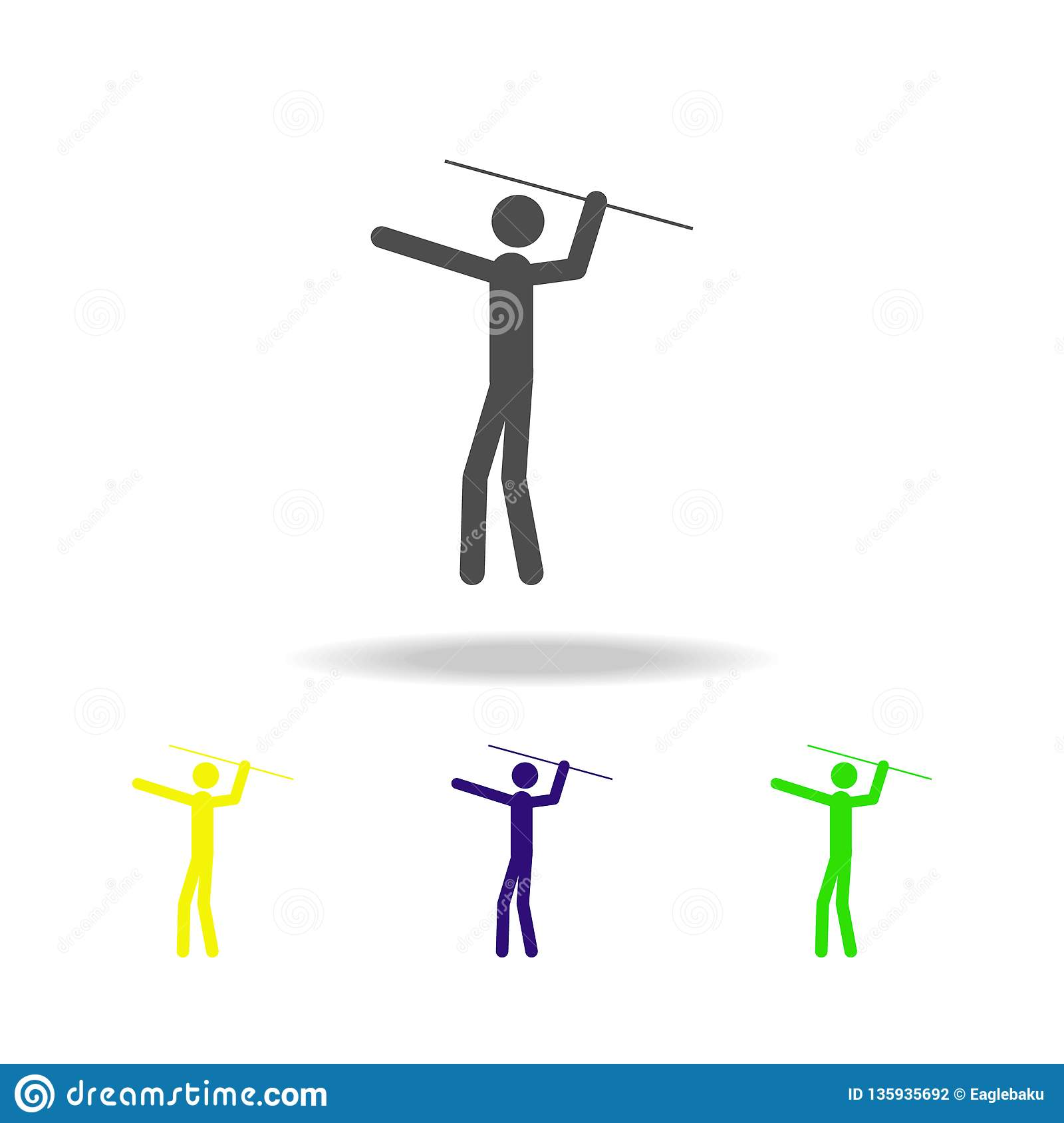 Throwing A Spear Multicolored Icons  Element Of Sport