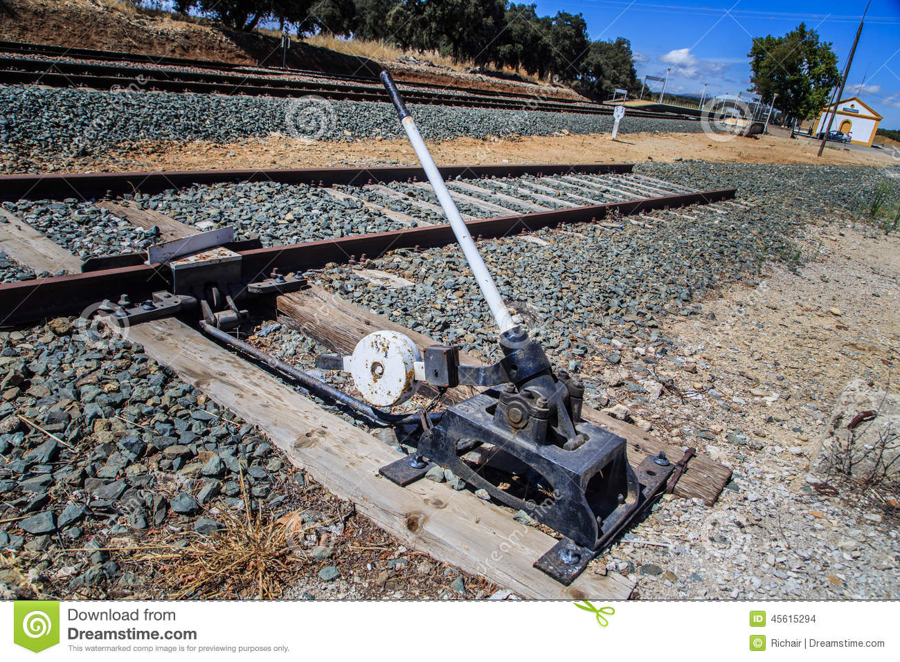 Lever Train Track : Throwing the switch stock photo image
