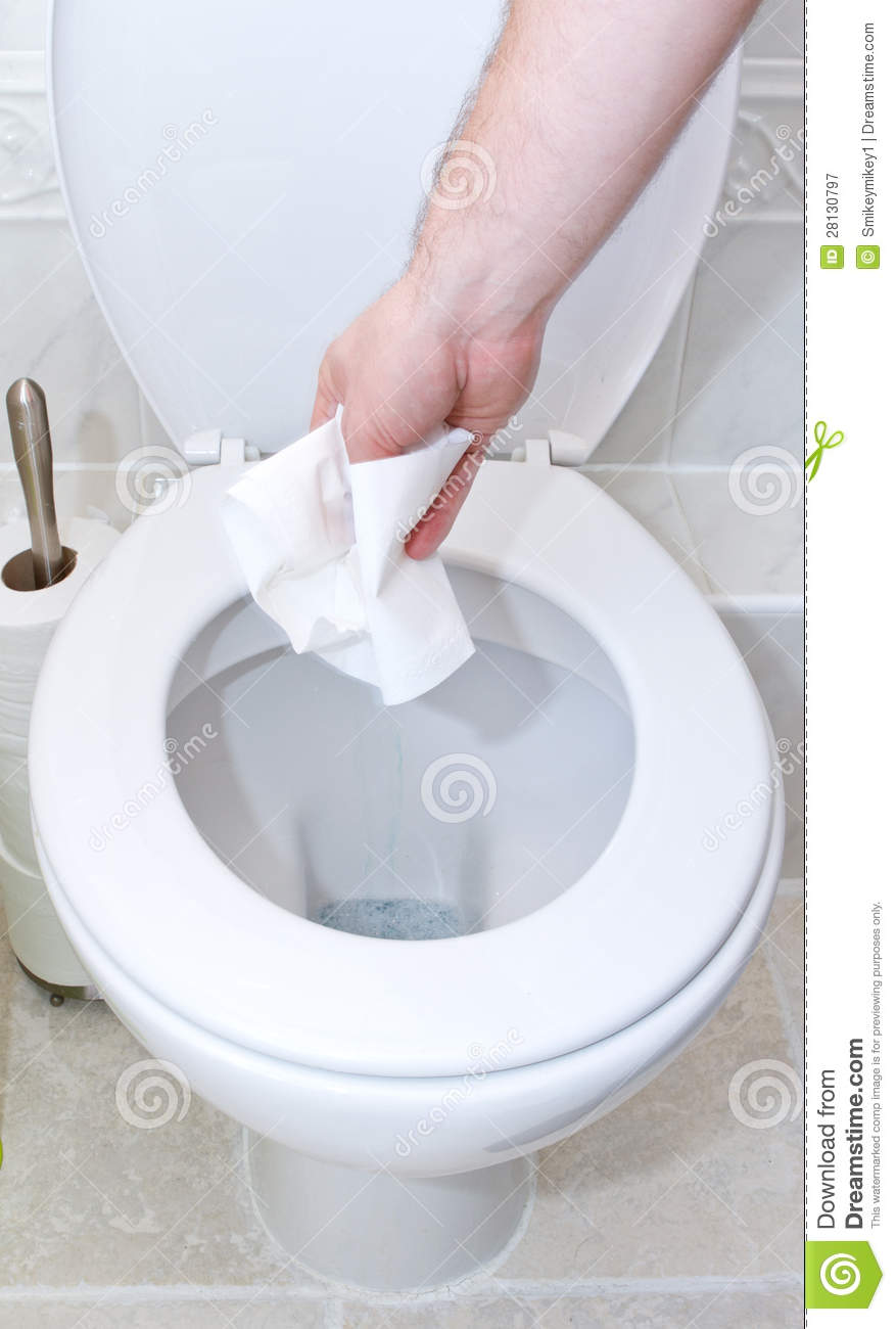 Clean bathroom sink clip art - Throwing Toilet Tissue Down Into The Toilet Royalty Free Stock