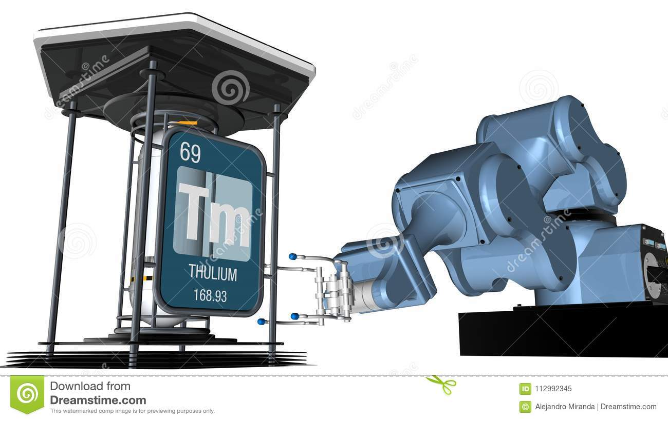 Thulium symbol in square shape with metallic edge in front of a mechanical arm that will hold a chemical container. 3D render.