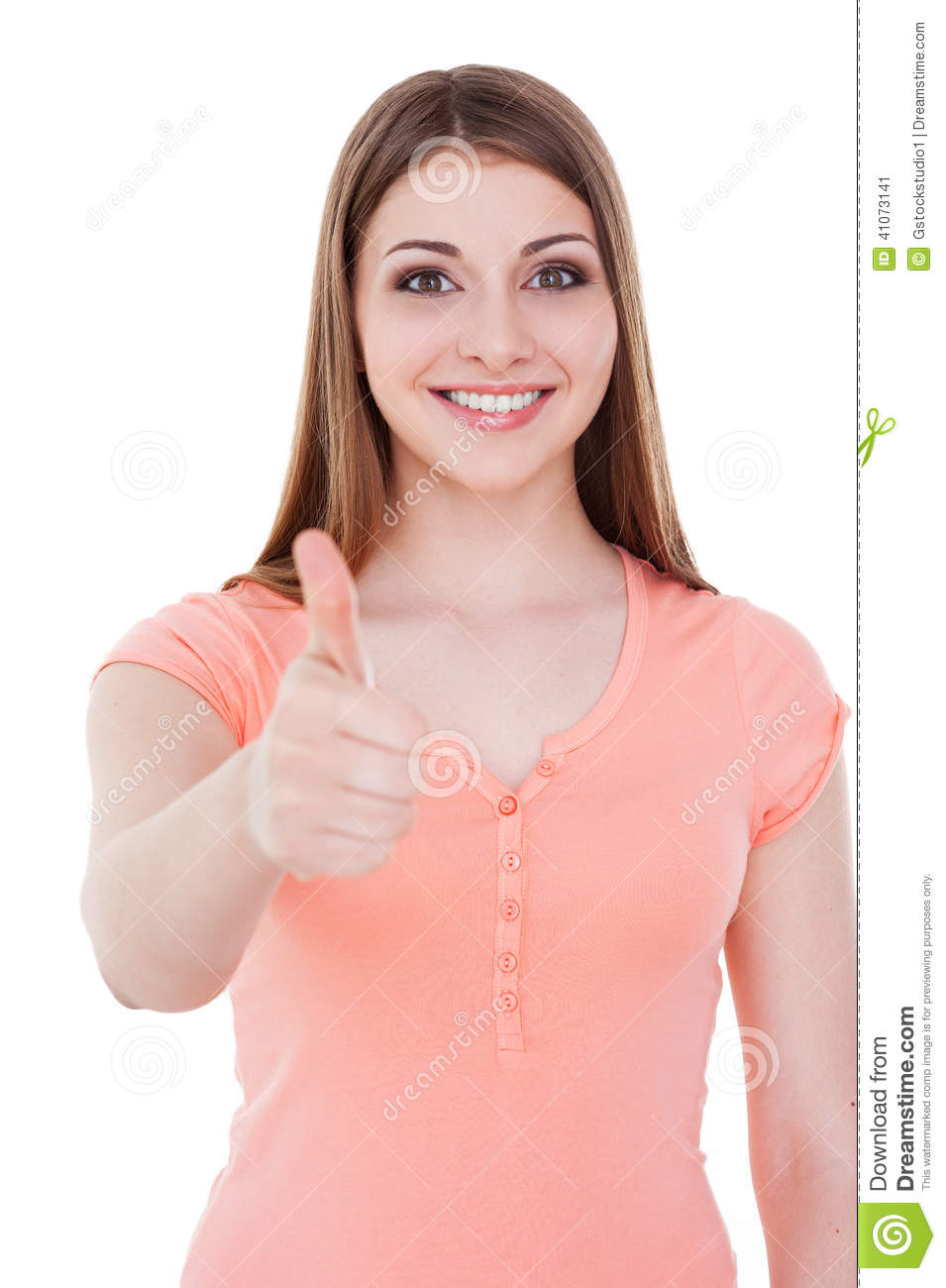 her thumb up