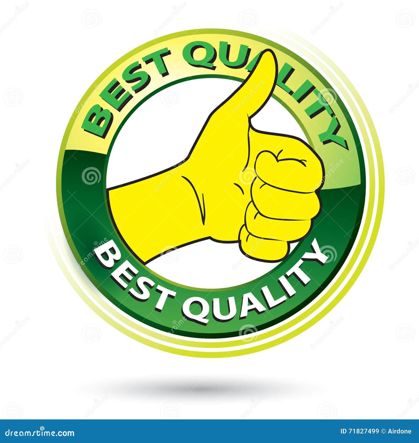 thumb up best quality logo illustration stock vector illustration
