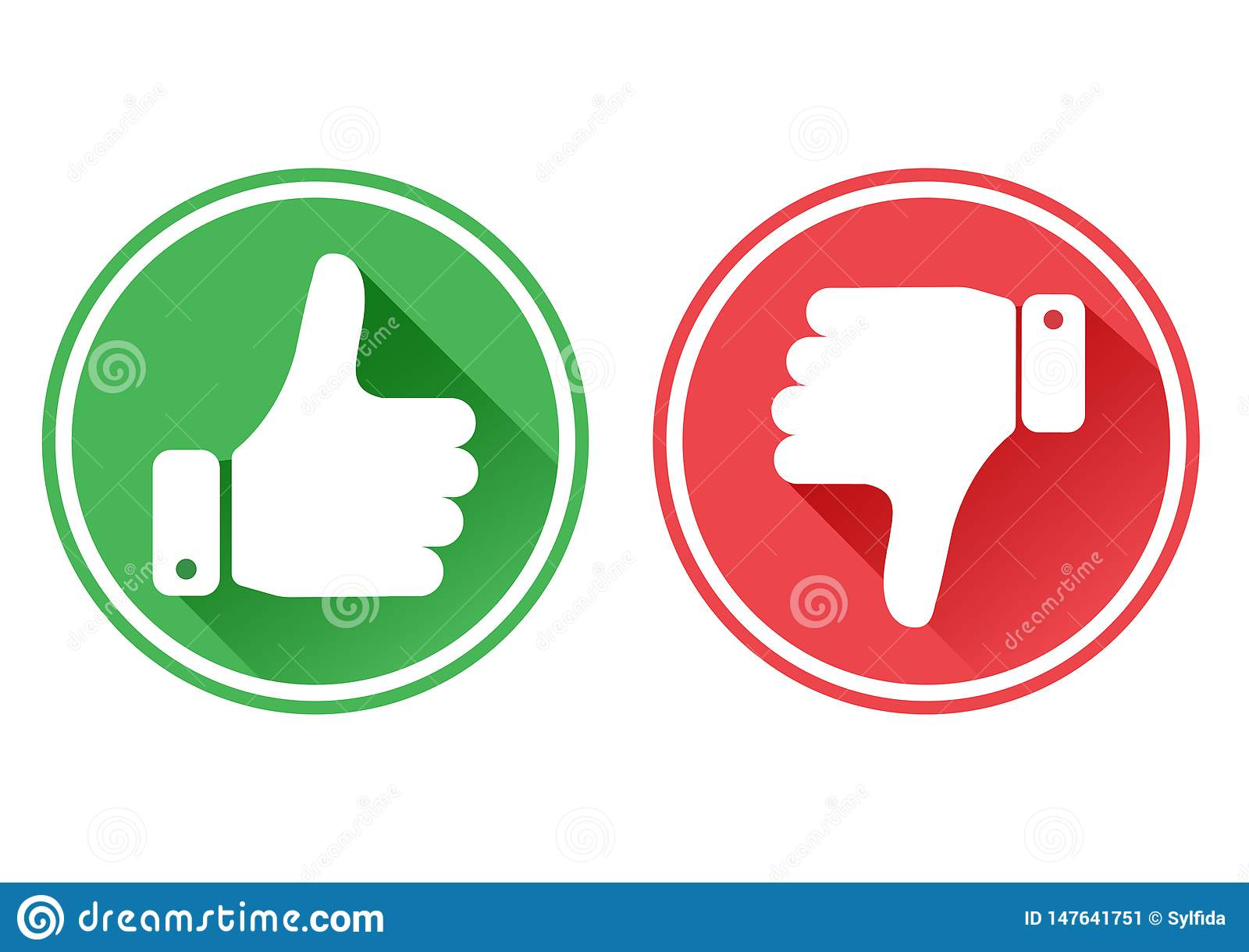 Thumb up and down red and green icons. I like and dislike. Vector