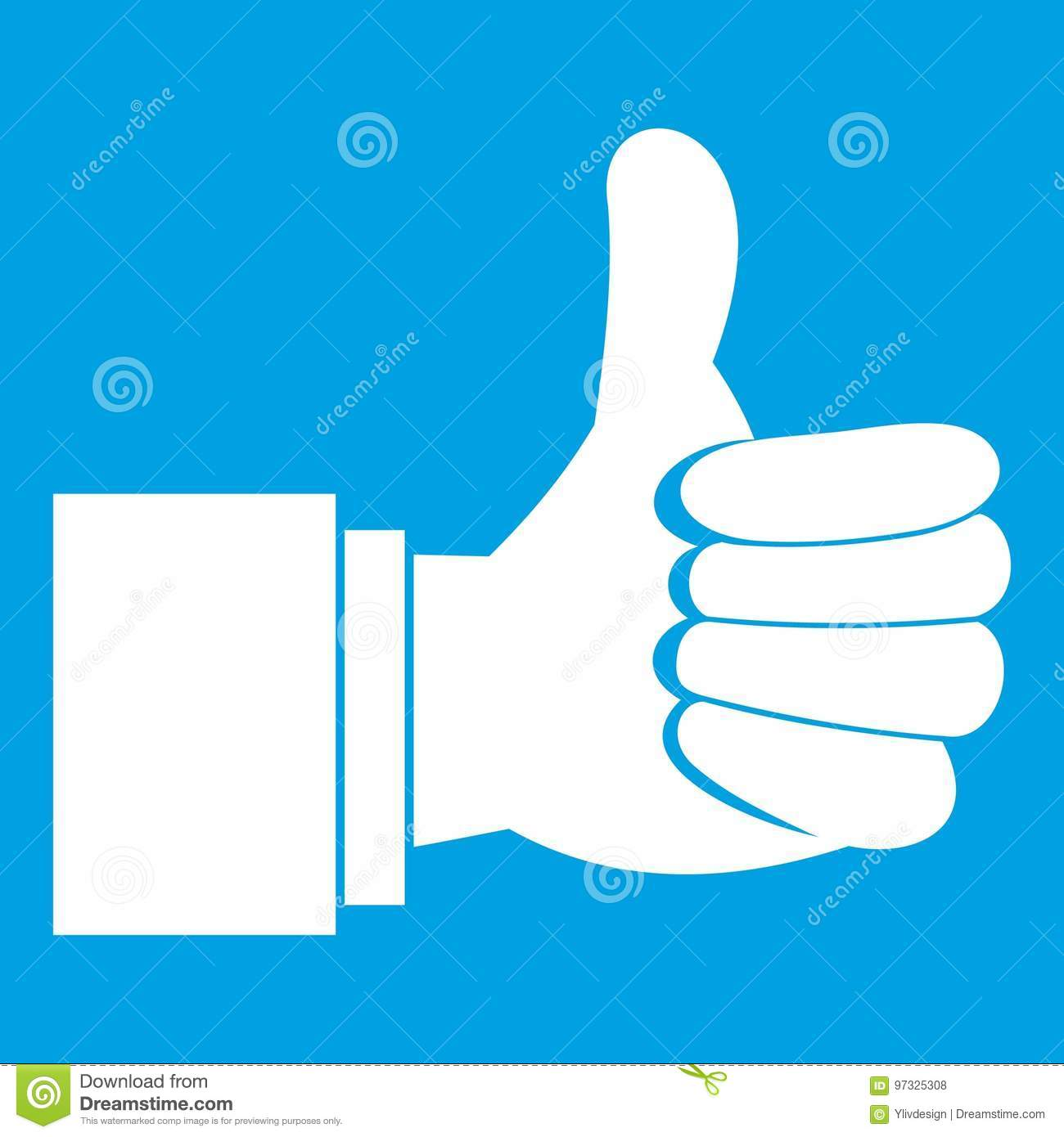 Thumb Up Gesture Icon White Stock Vector - Illustration of nice