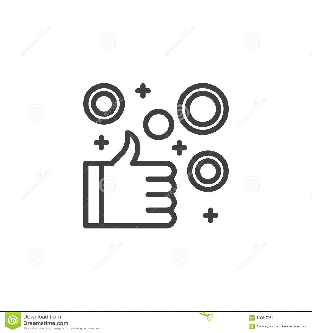 Thumb up hand with coins outline icon