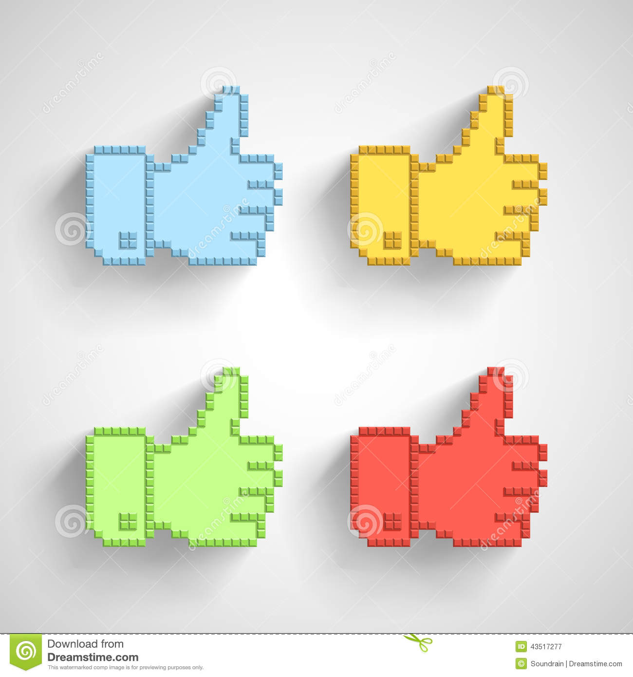 Thumb Up Icon In Pixel Art Stock Vector Illustration Of