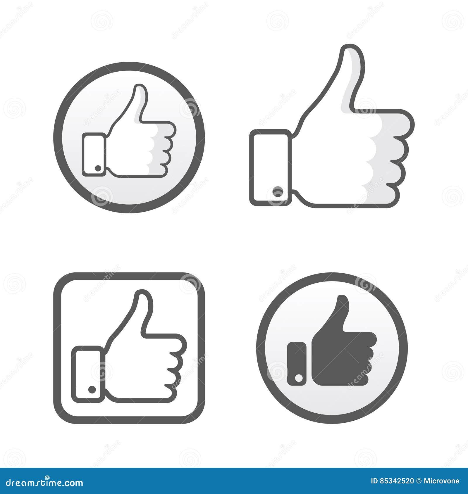 Thumb Up Like Icons Vector Set Social Network Editorial Image