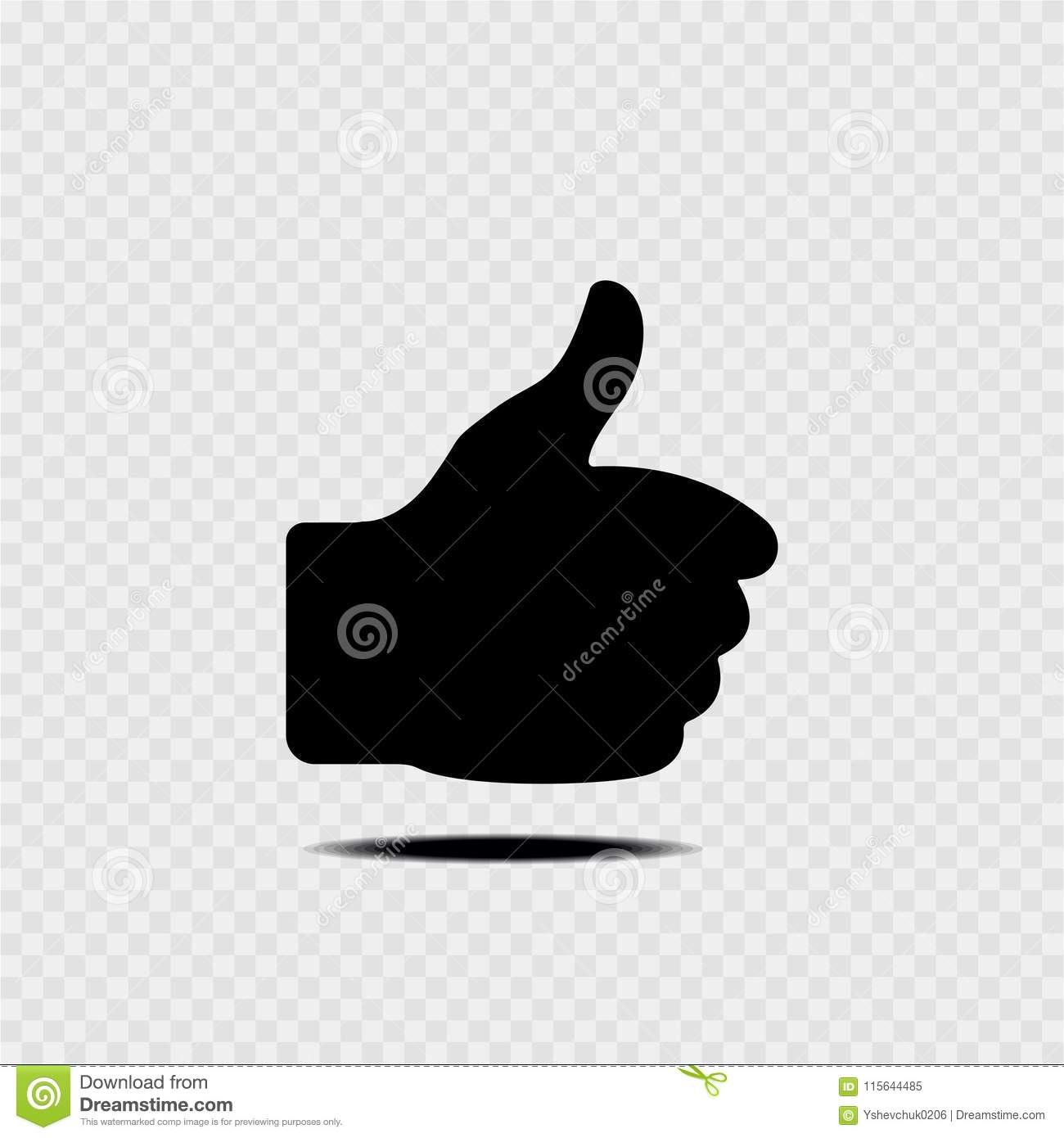 Thumb up sign. Gray background.Vector illustration.
