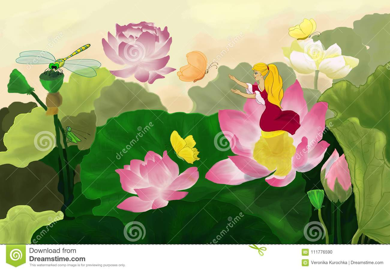Thumbelina with colorful butterflies among the lotuses