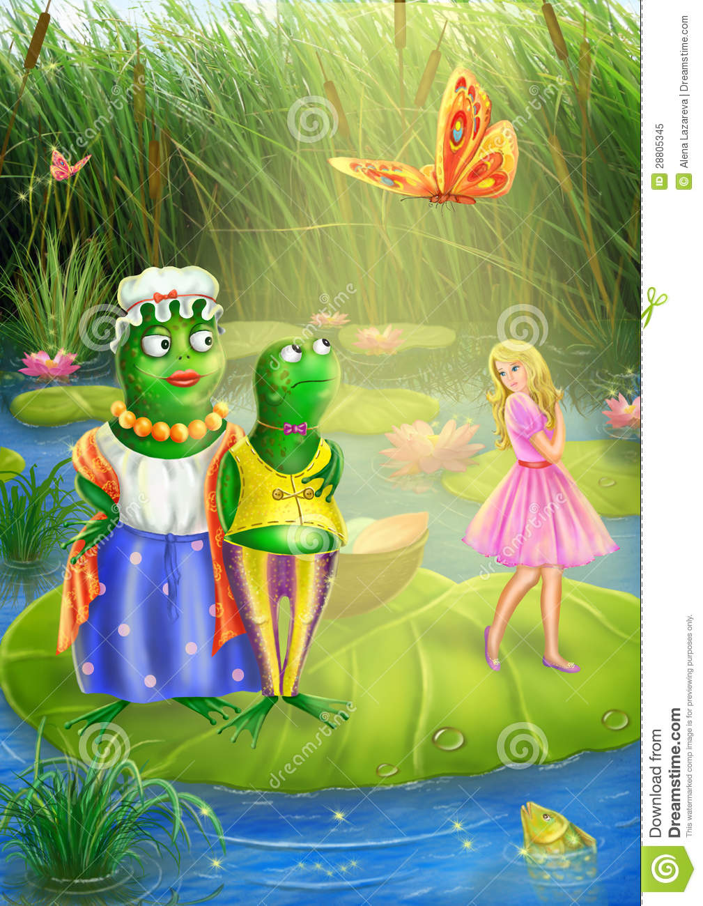 thumbelina and frog royalty free stock photo image 28805345