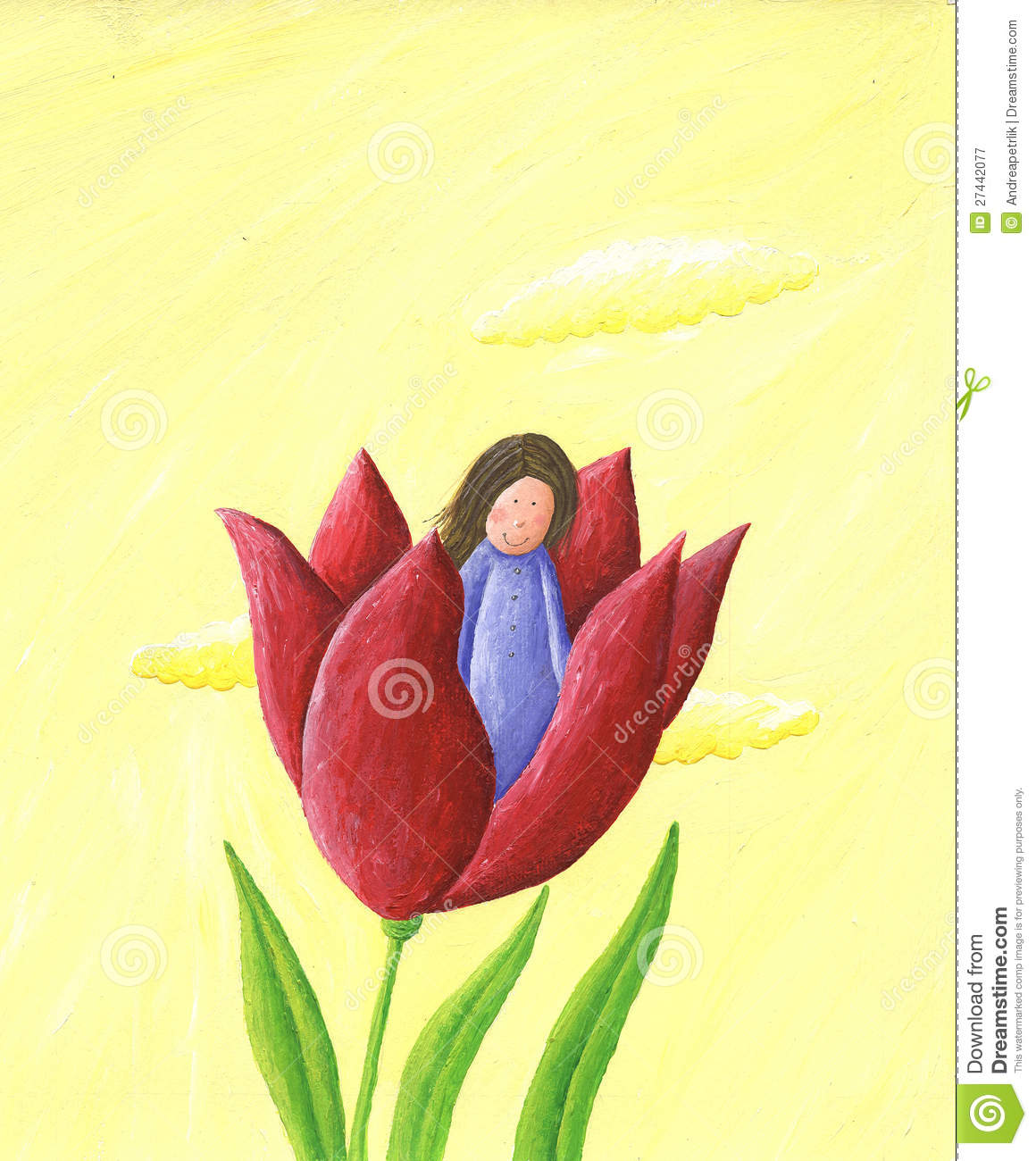 Thumbelina - Girl In The Flower Royalty Free Stock Photography ...