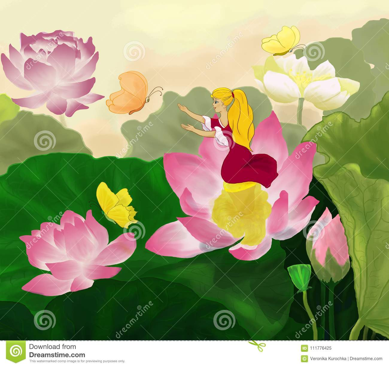 Thumbelina sits in a lotus flower with butterflies stock download thumbelina sits in a lotus flower with butterflies stock illustration illustration of fantasy izmirmasajfo