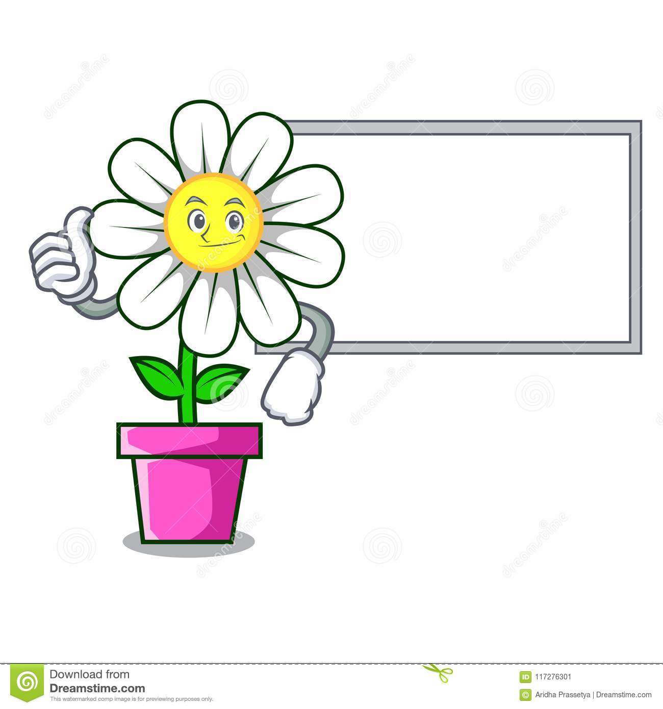 Thumbs Up With Board Daisy Flower Character Cartoon Stock Vector