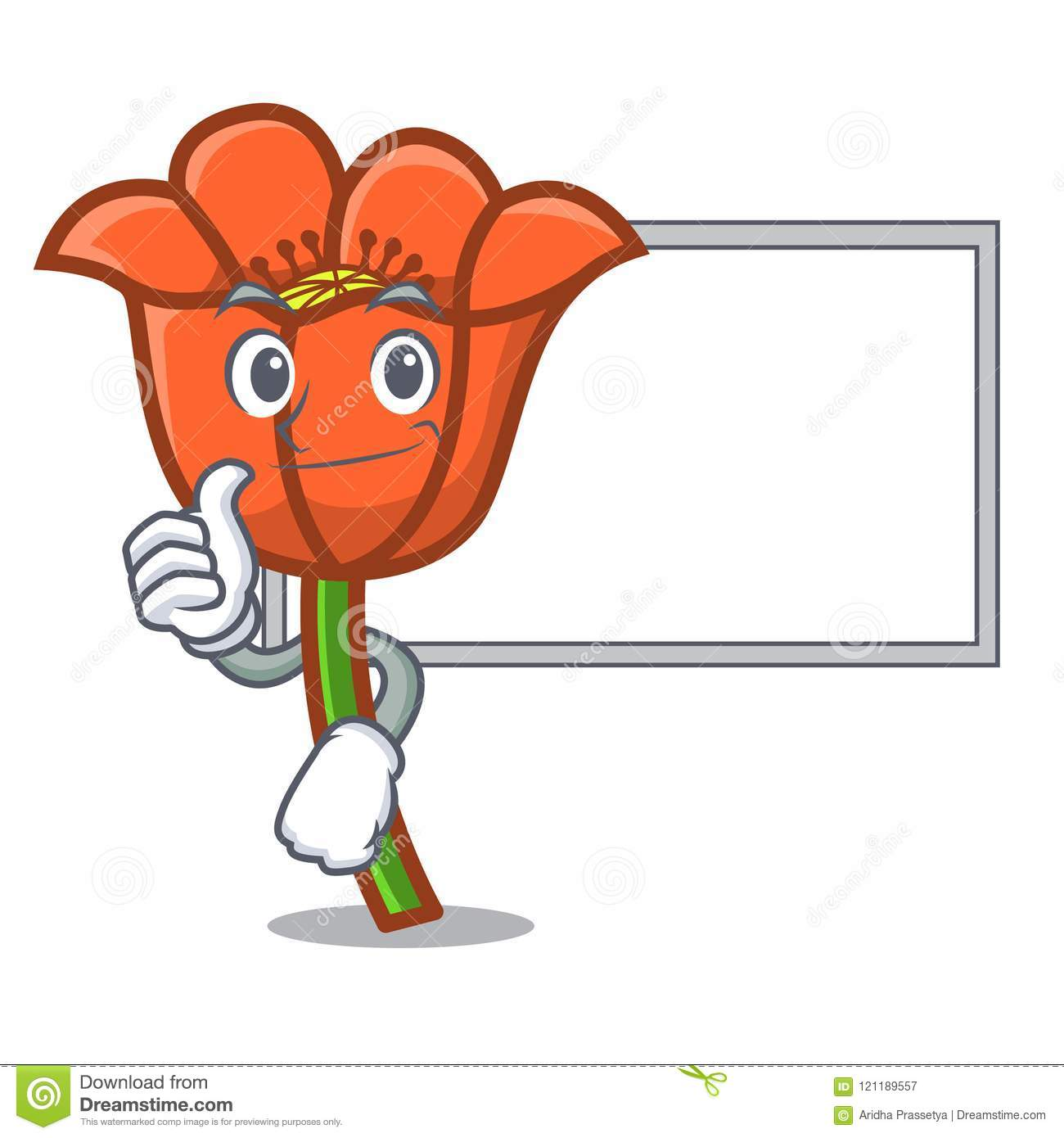 Thumbs Up With Board Poppy Flower Character Cartoon Stock Vector