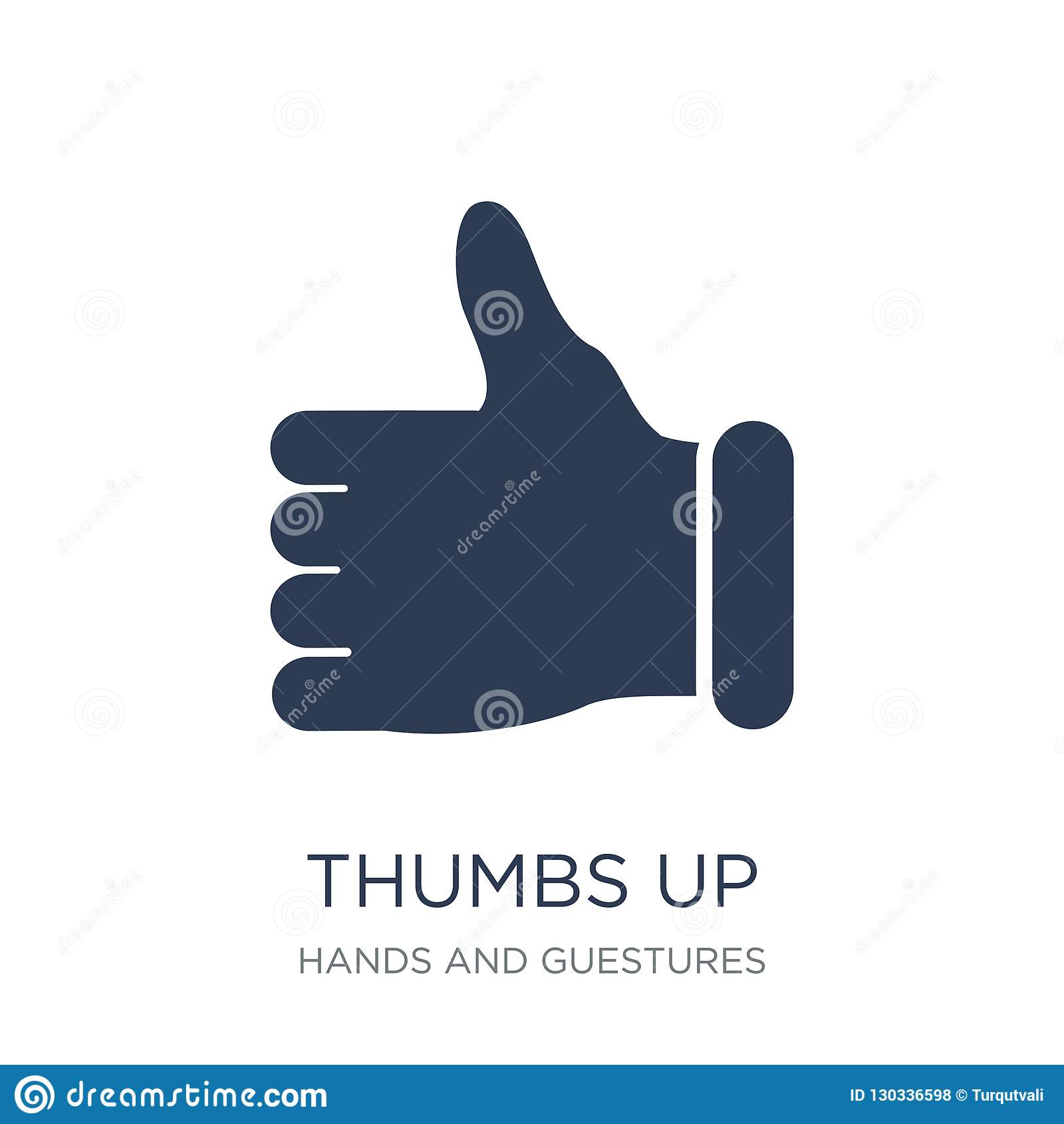 Thumbs up icon. Trendy flat vector Thumbs up icon on white background from Hands and guestures collection