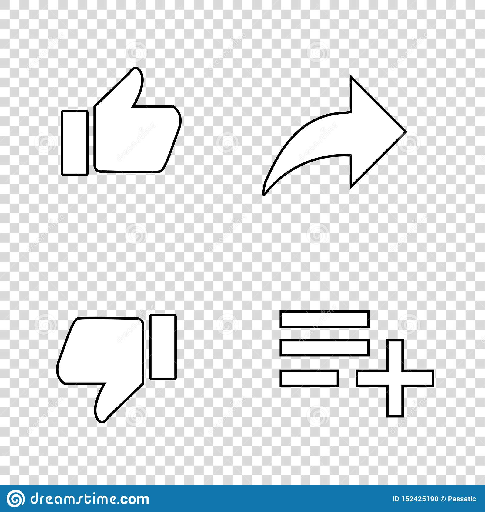 thumbs up likes with arrow and list