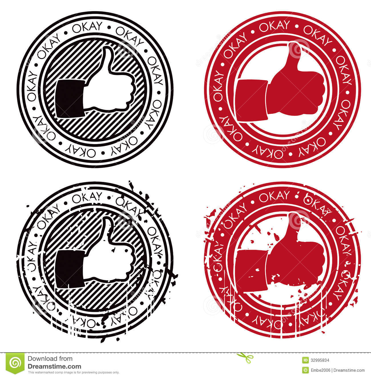 Thumbs Up Ok Stamp Stock Vector Image Of Isolated