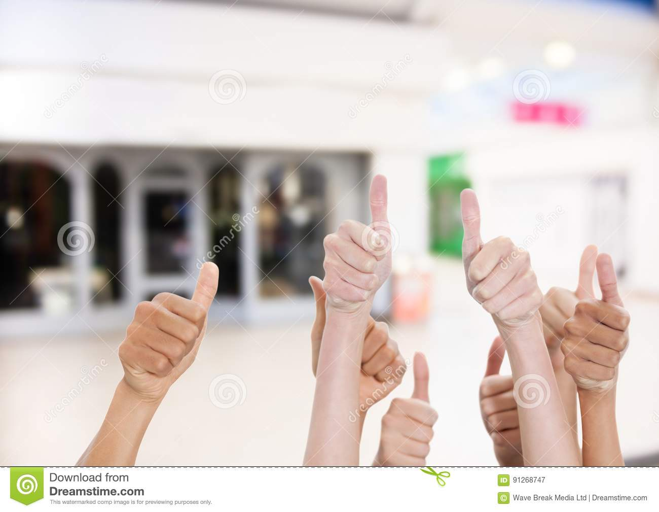 Thumbs up in the shopping center.