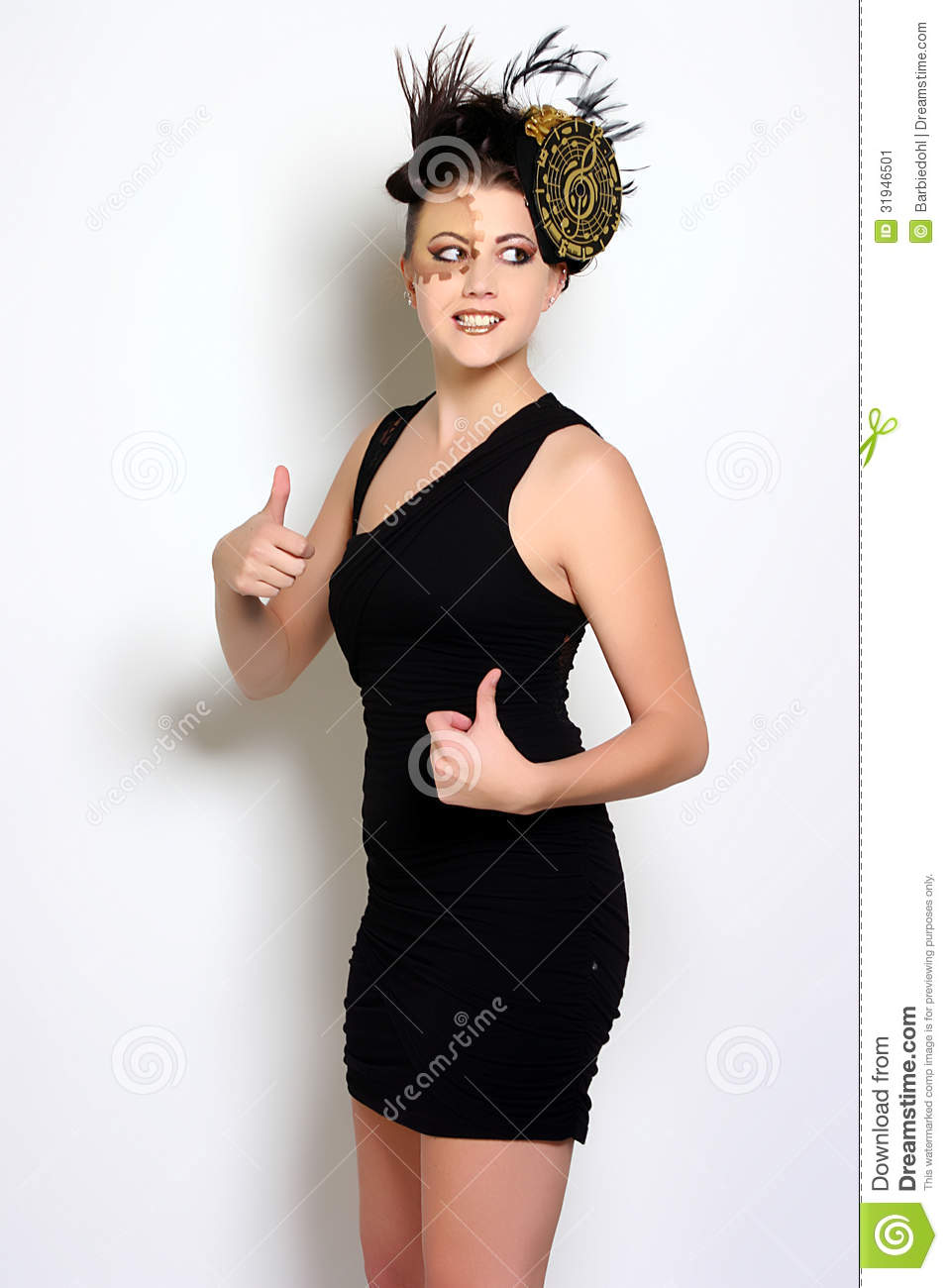 Brilliant Woman Black Dress Hand Chin Look Up Stock Photography  Image